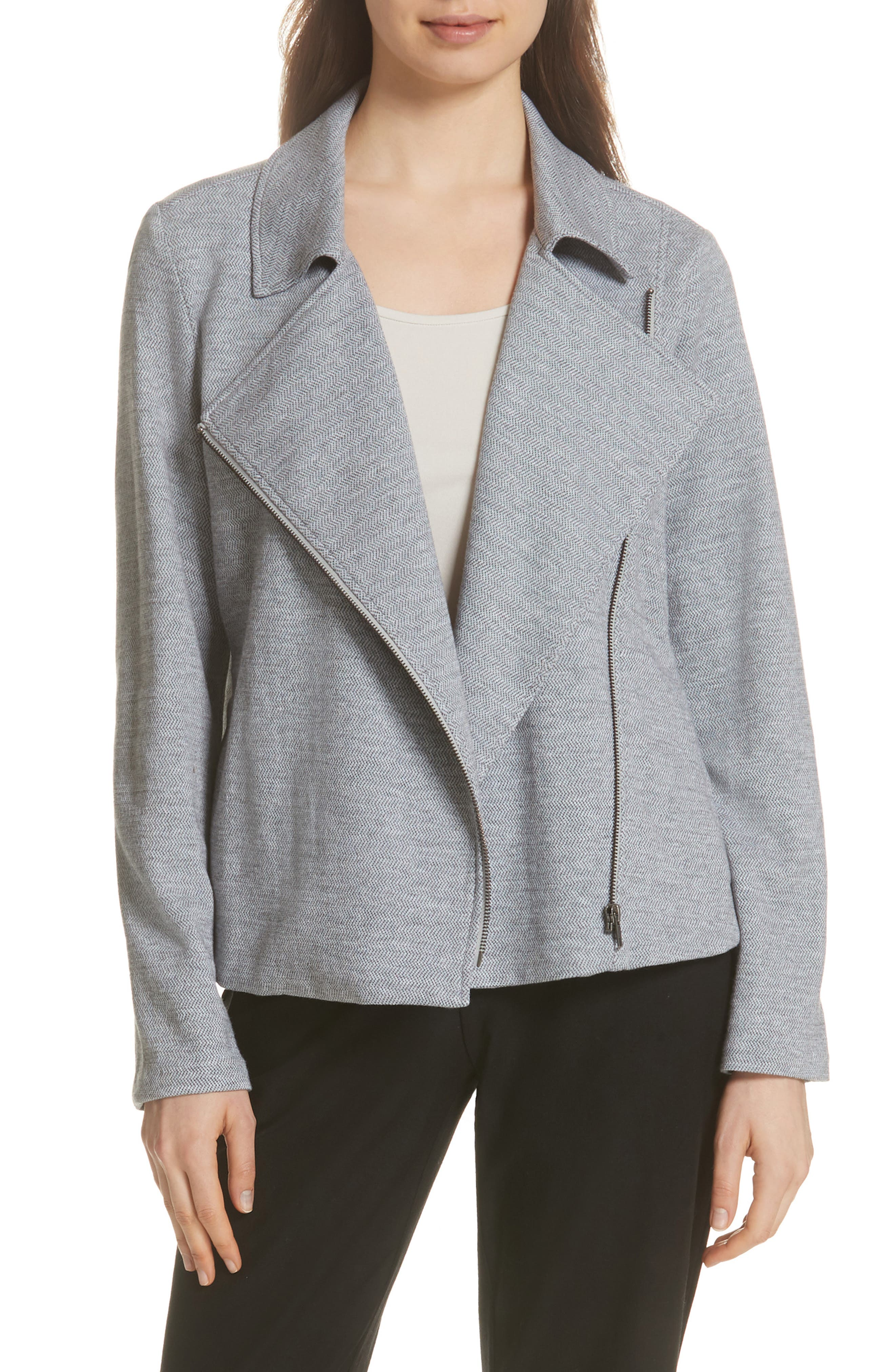 EILEEN FISHER,                             Organic Cotton Tweed Moto Jacket,                             Main thumbnail 1, color,                             087