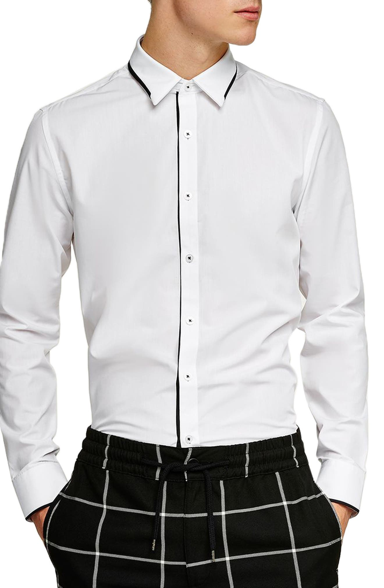 Smart Skinny Fit Dress Shirt,                         Main,                         color, WHITE