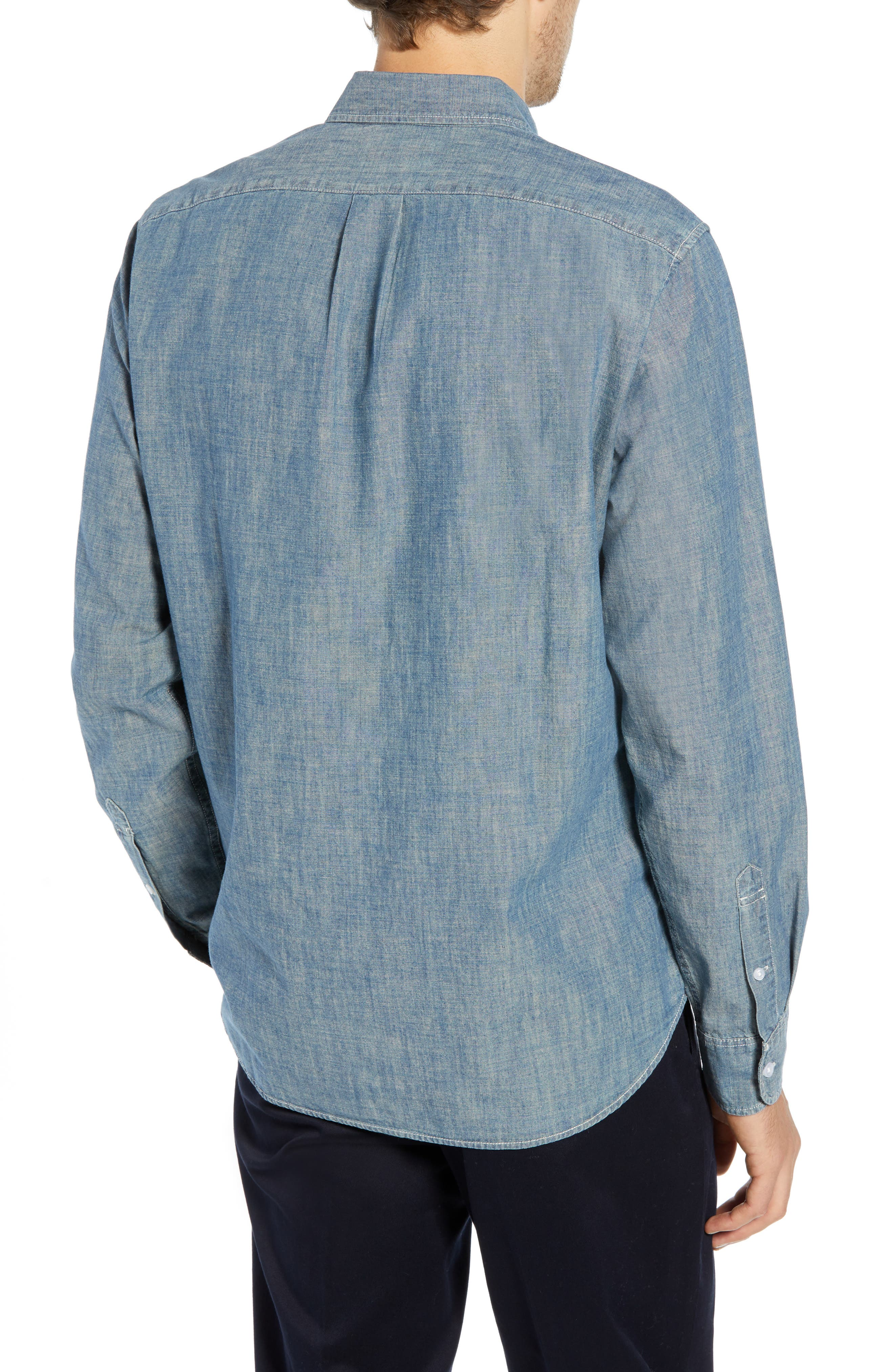 Slim Fit Indigo Japanese Chambray Shirt,                             Alternate thumbnail 3, color,                             INDIGO