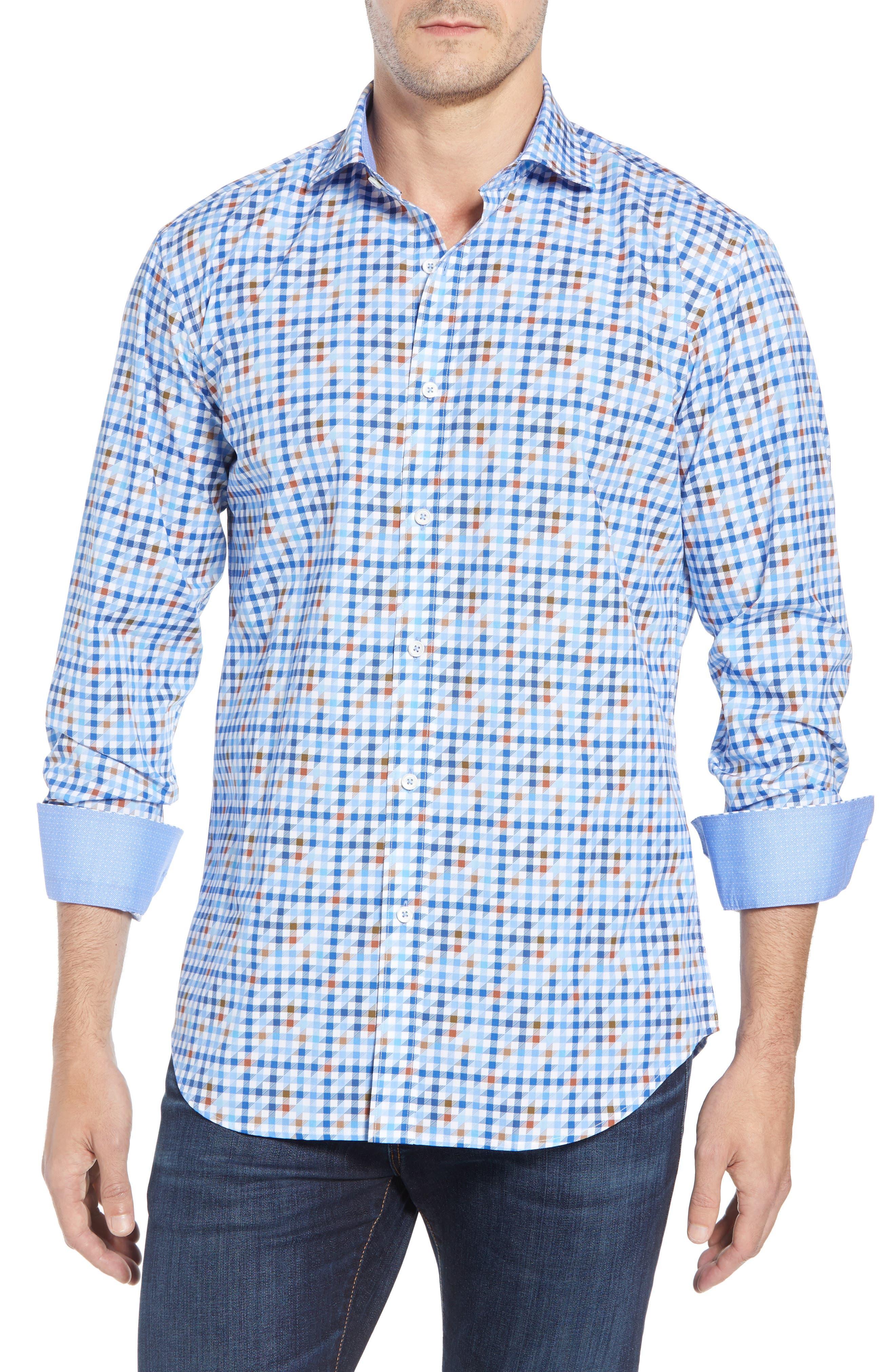 Shaped Fit Print Sport Shirt,                         Main,                         color, MOCHA