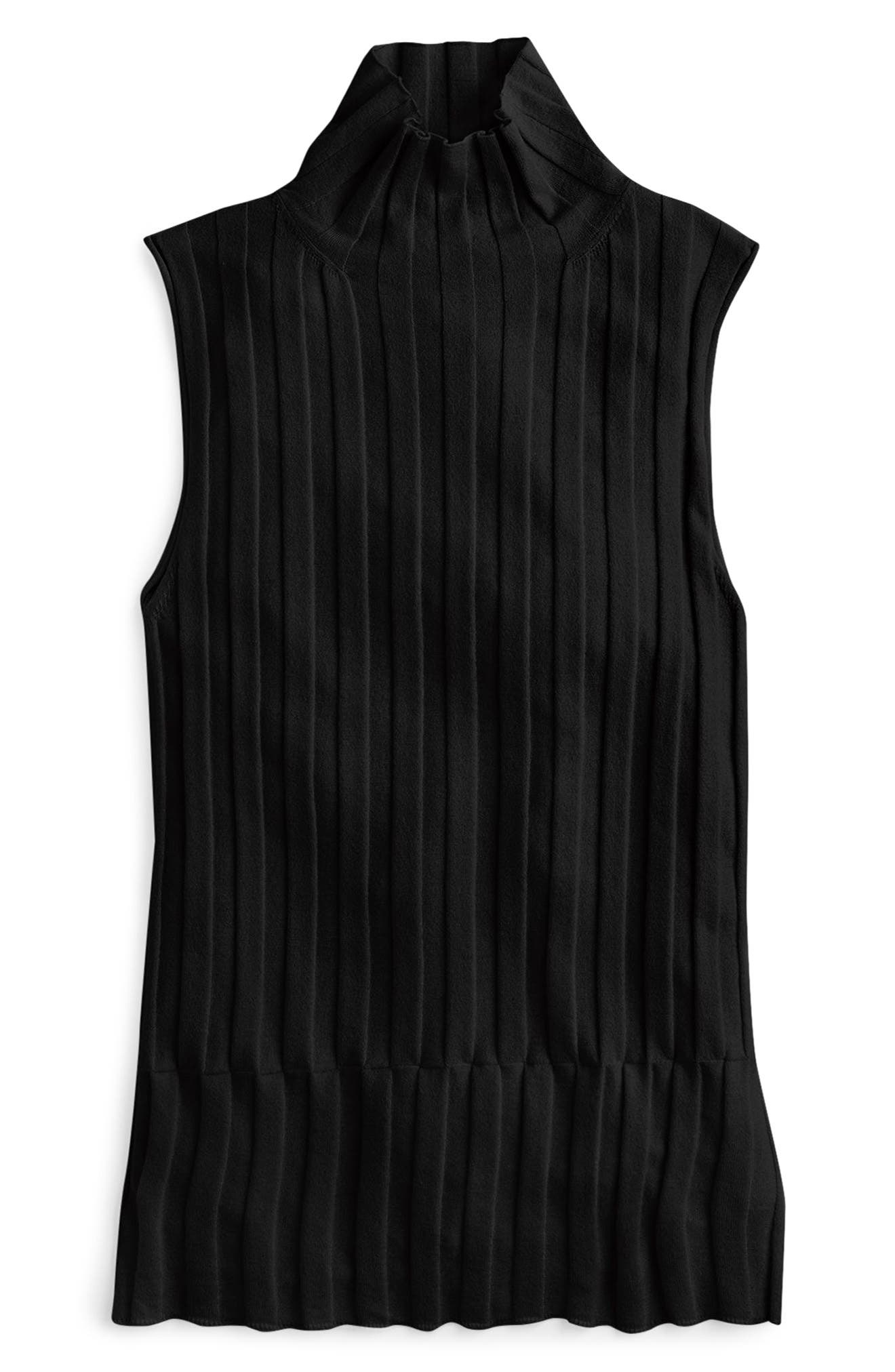365 Stretch Sleeveless Turtleneck Sweater,                             Alternate thumbnail 5, color,                             001