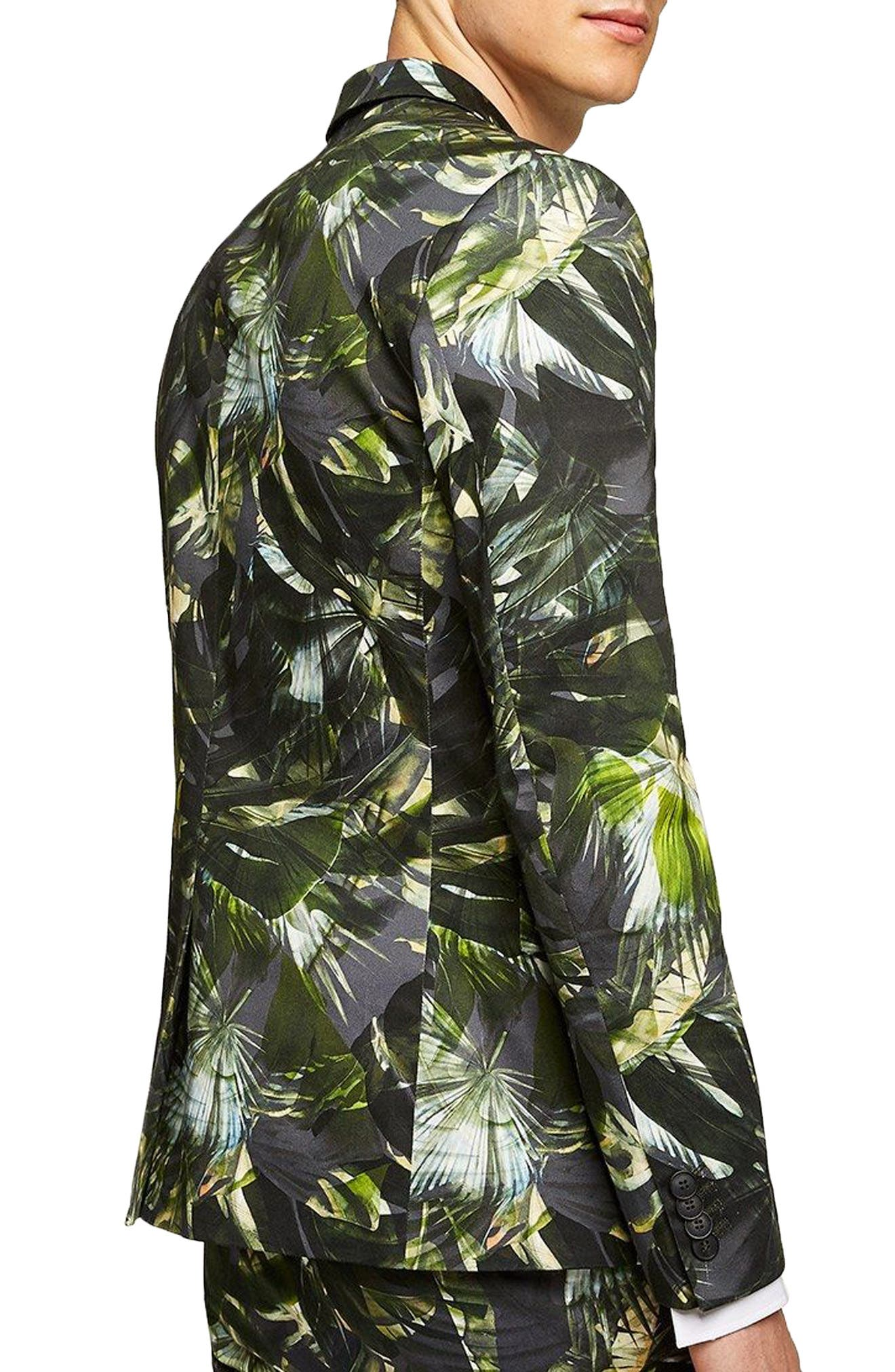 Ultra Skinny Fit Palm Print Suit Jacket,                             Alternate thumbnail 2, color,                             GREEN