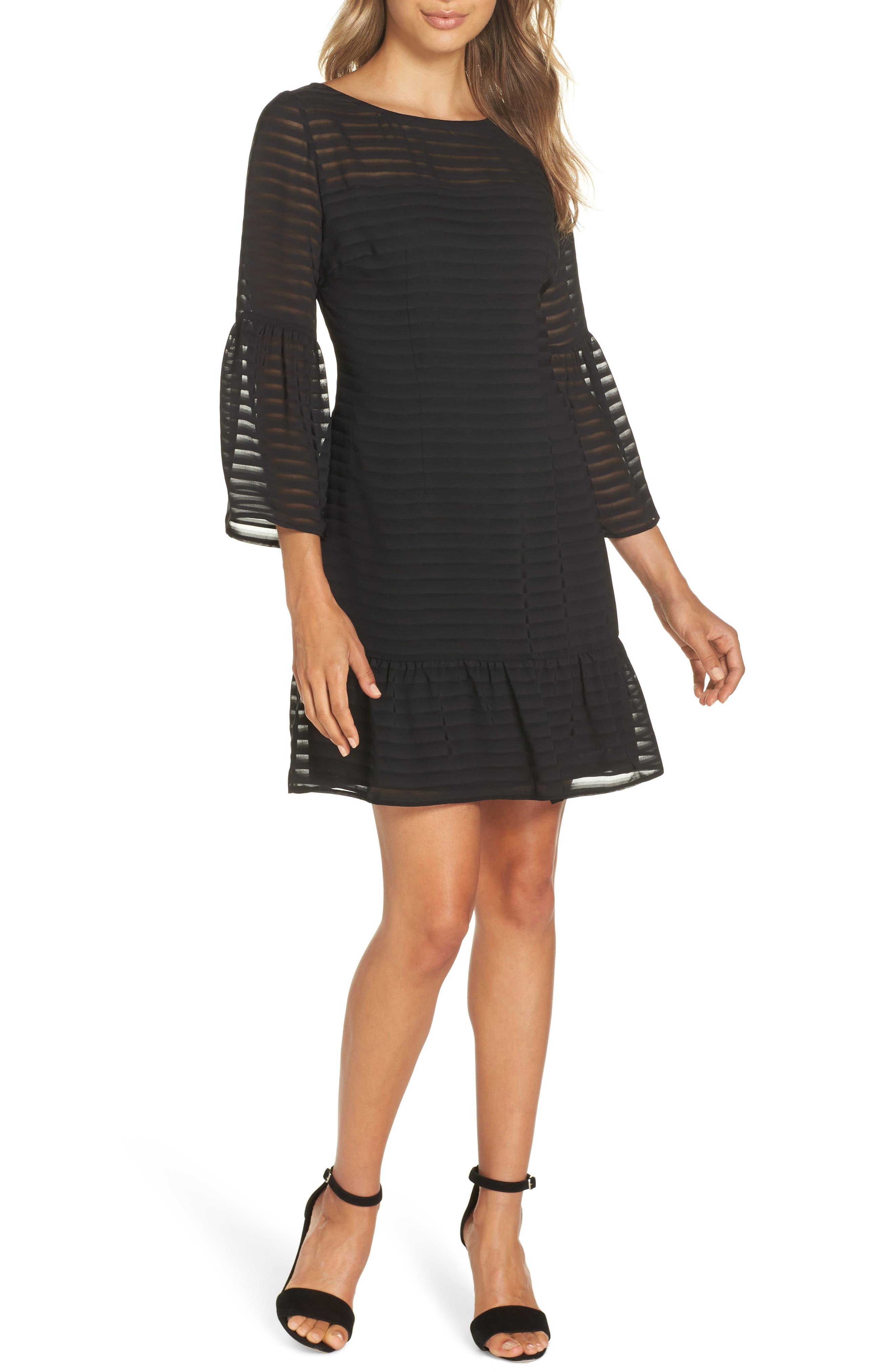 Bb Dakota Night Vision Bell Sleeve Tonal Stripe Dress, Black