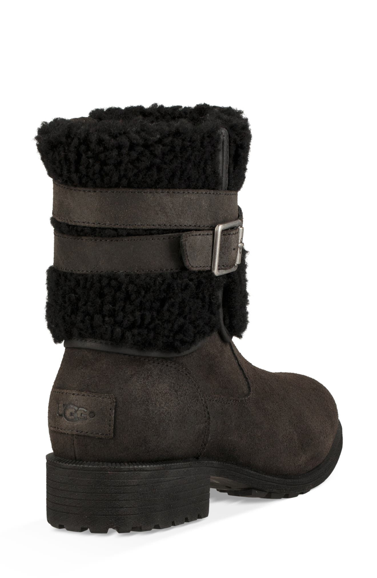 Blayre III Faux Shearling Cuff Bootie,                             Alternate thumbnail 2, color,                             BLACK