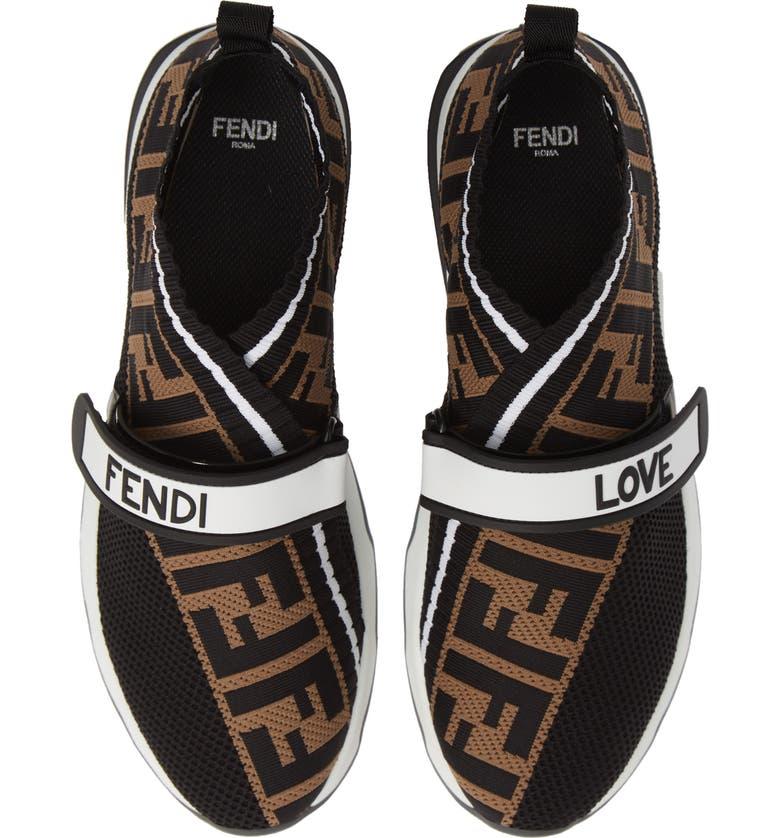 53ffc4c7ac2b Fendi Rockoko Logo-Jacquard Stretch-Knit And Mesh Slip-On Sneakers In Black