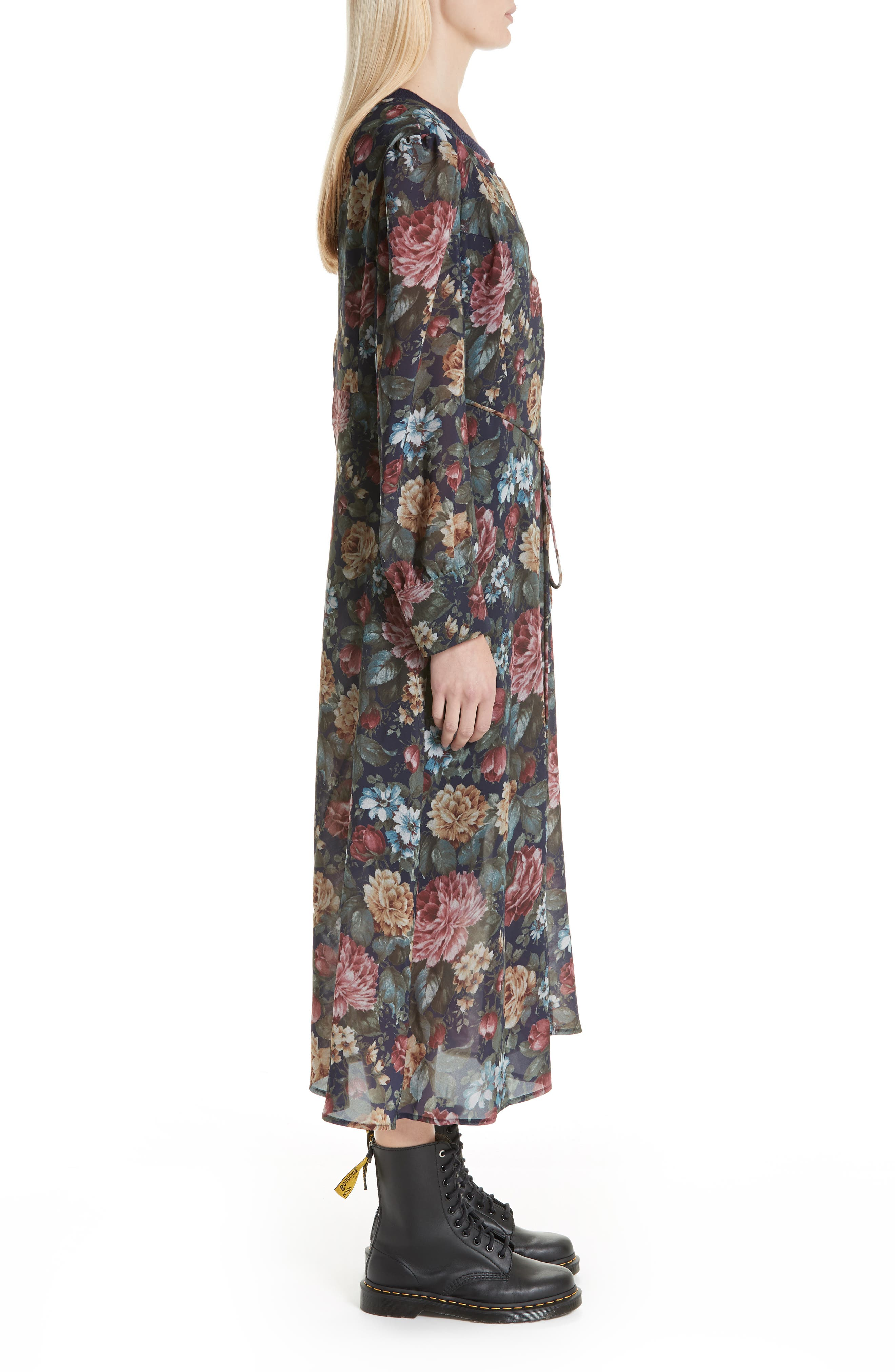Knit Collar Floral Chiffon Dress,                             Alternate thumbnail 3, color,                             NAVY/ RED/ YELLOW