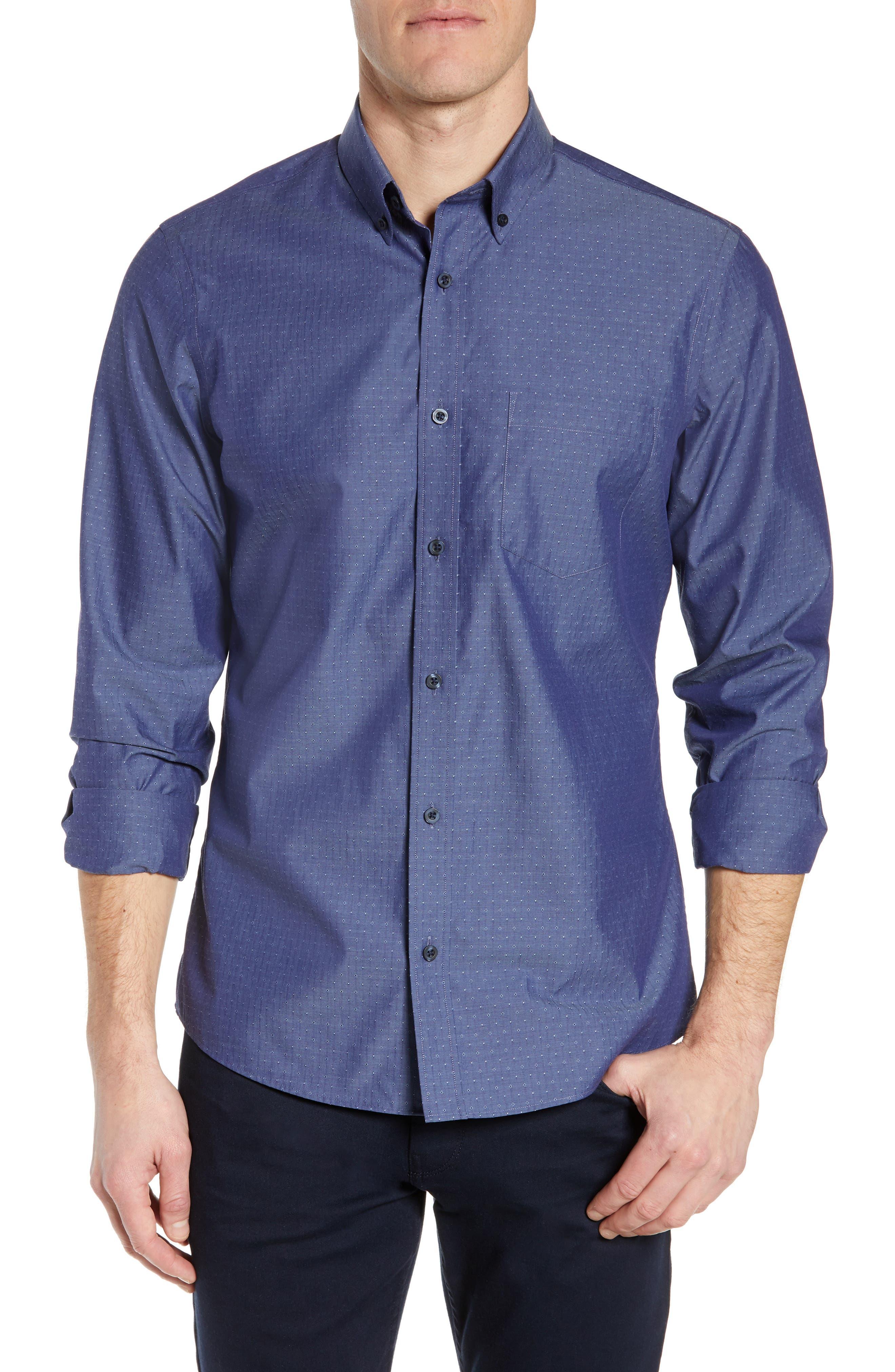 NORDSTROM MEN'S SHOP Regular Fit Non-Iron Dobby Sport Shirt, Main, color, NAVY PEACOAT DIAMOND DOBBY