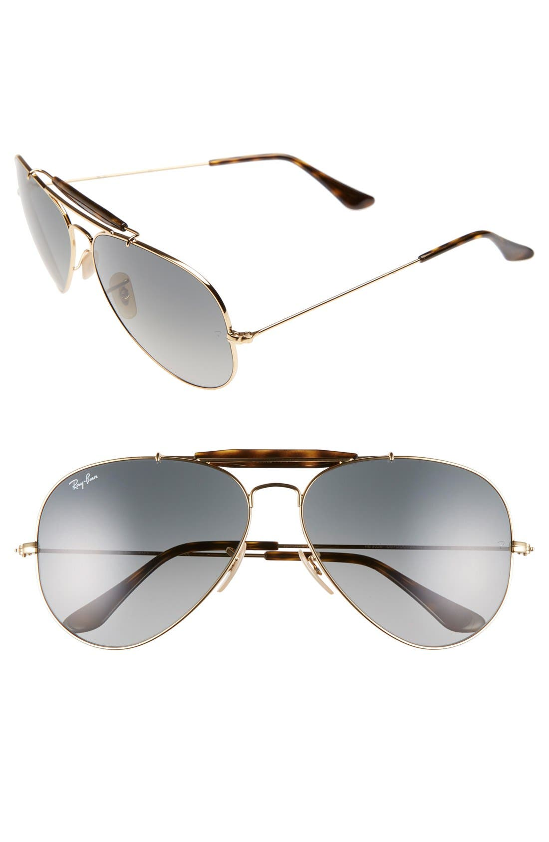 'Outdoorsman II' 62mm Sunglasses,                         Main,                         color, GOLD/ GREY GRADIENT