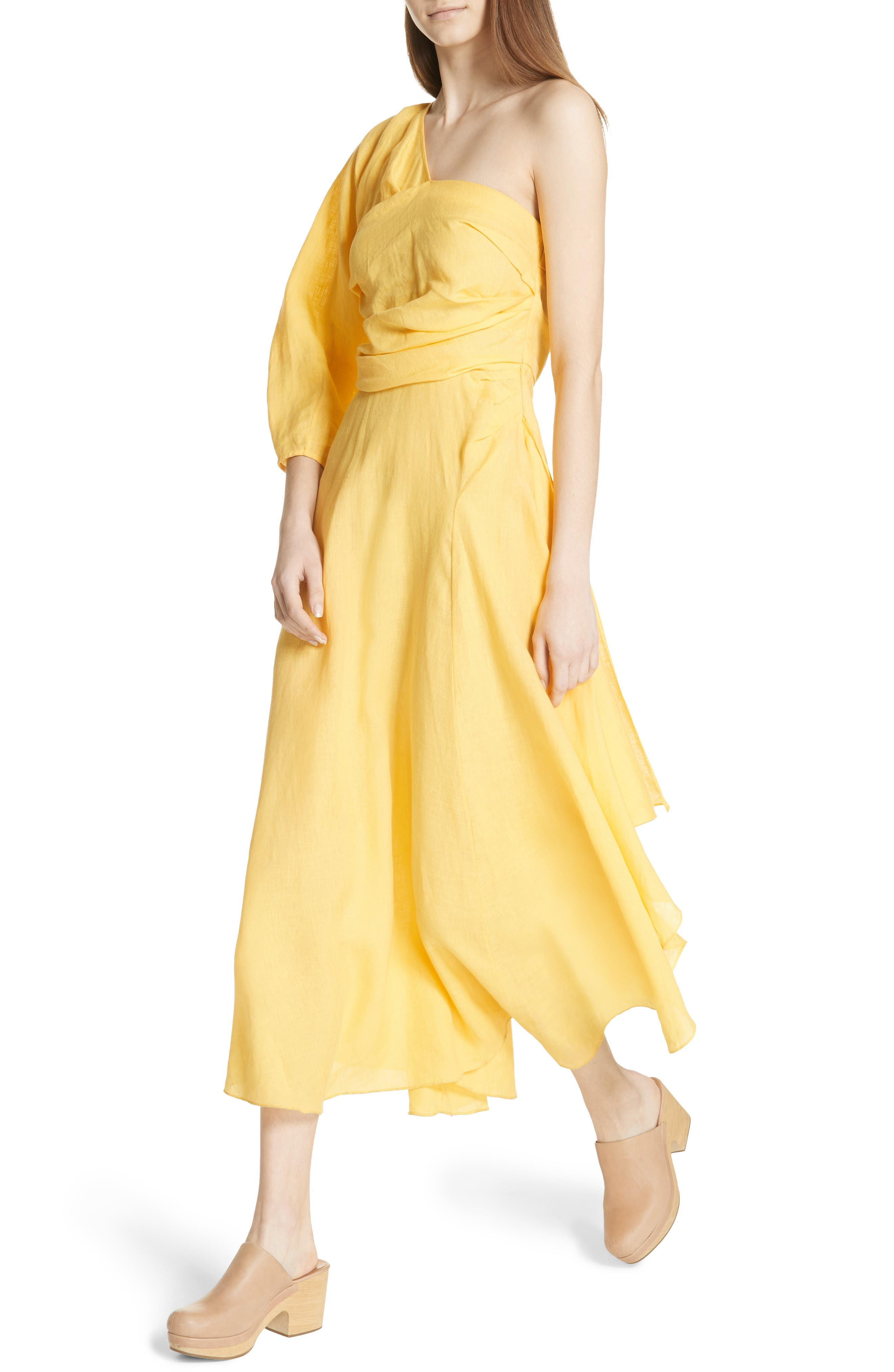 Tipple One-Shoulder Dress,                             Alternate thumbnail 4, color,                             YELLOW