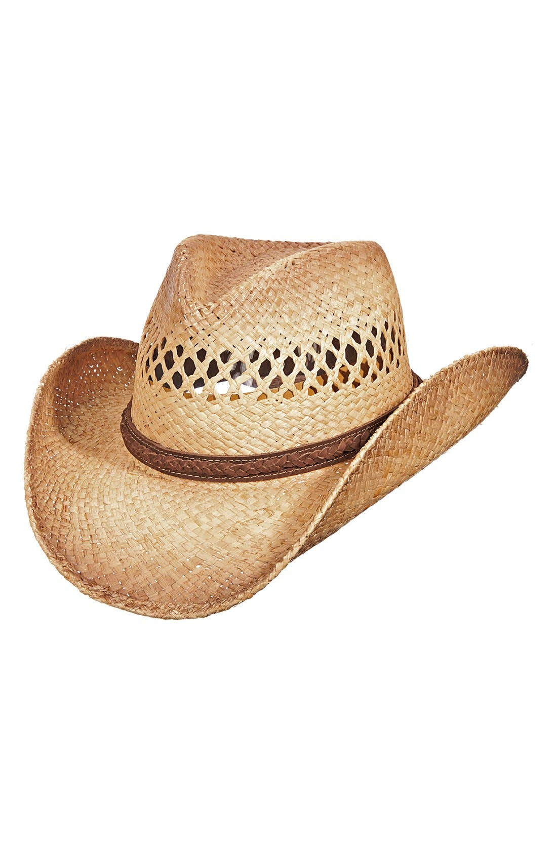 Western Straw Hat,                         Main,                         color, BURNT
