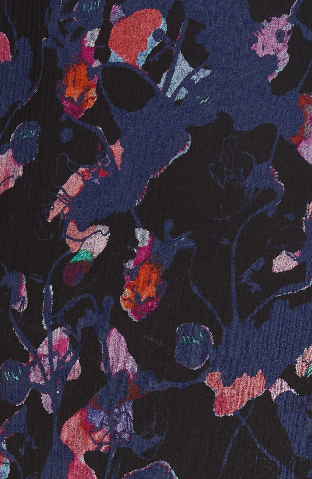 Print Silk Chiffon Midi Dress,                             Alternate thumbnail 6, color,                             BLACK MULTI