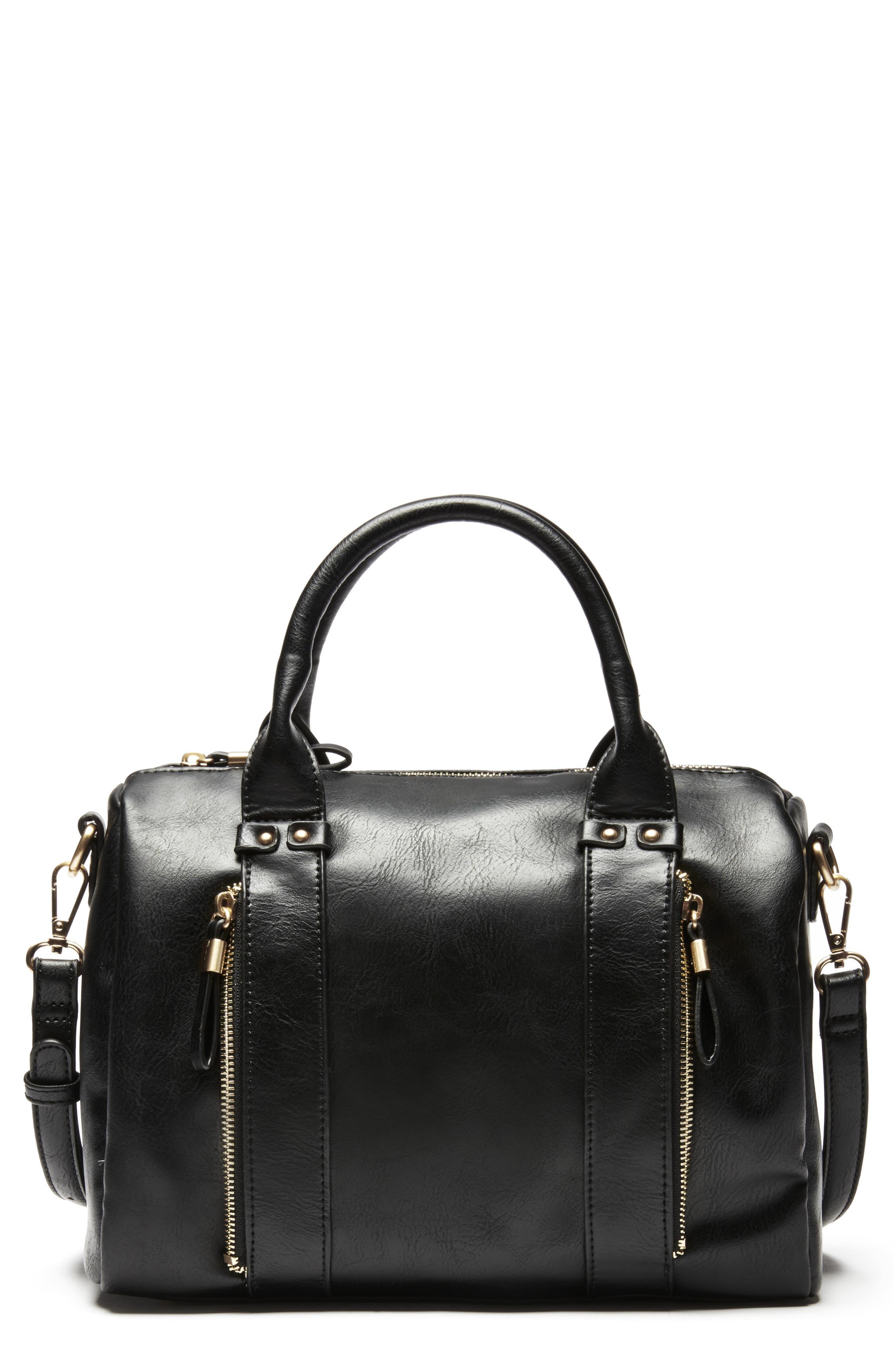 Zypa Faux Leather Barrel Satchel,                         Main,                         color, BLACK