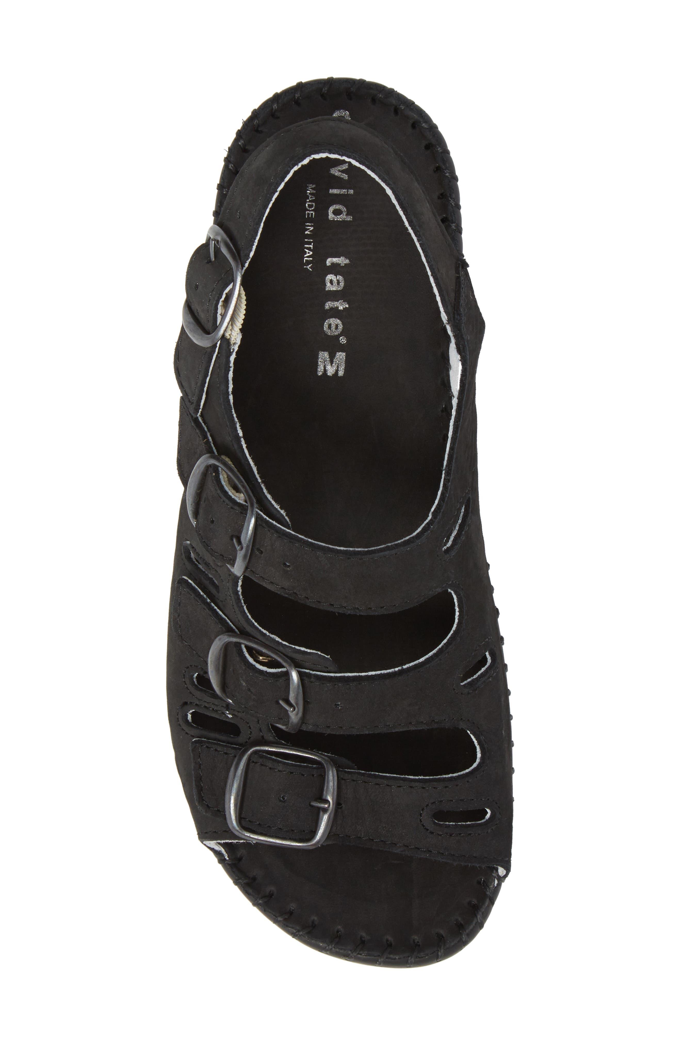 Luna Slingback Wedge Sandal,                             Alternate thumbnail 5, color,                             BLACK NUBUCK