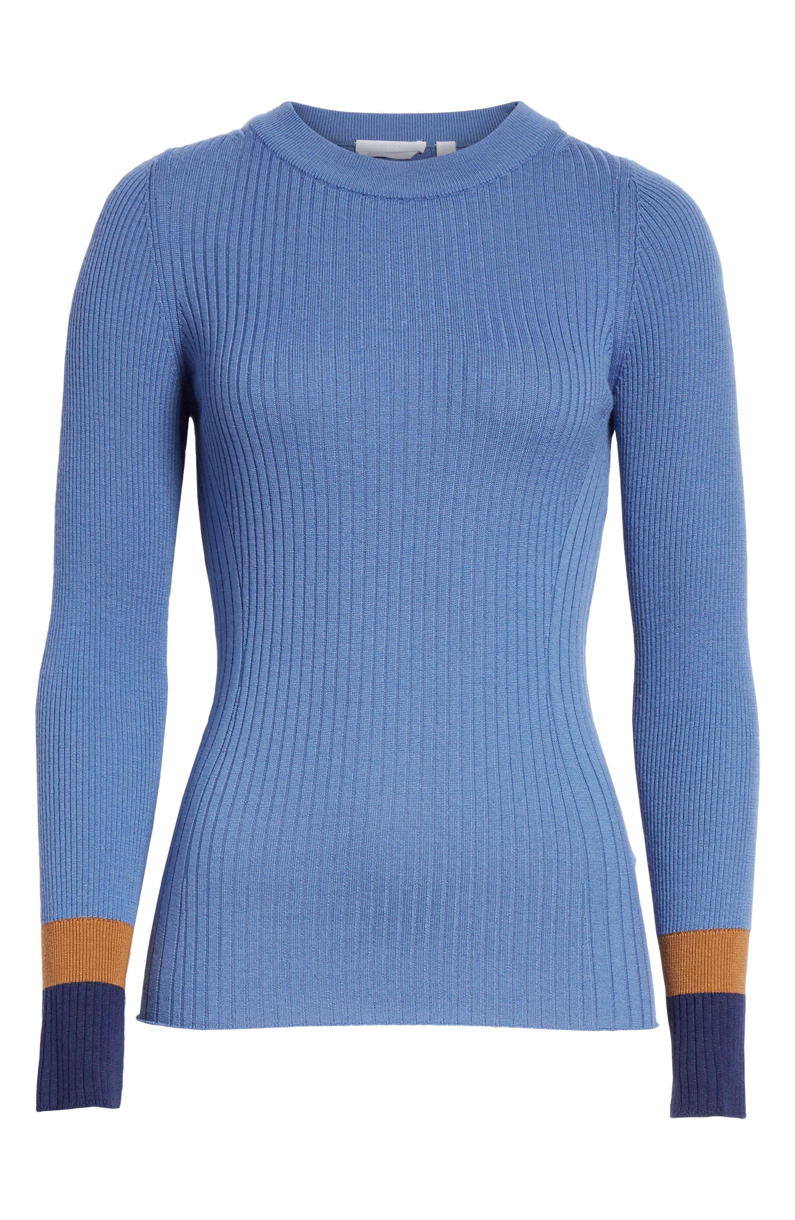 Fadeline Blue Fantasy Ribbed Wool Sweater,                             Alternate thumbnail 6, color,                             SOFT BLUE FANTASY