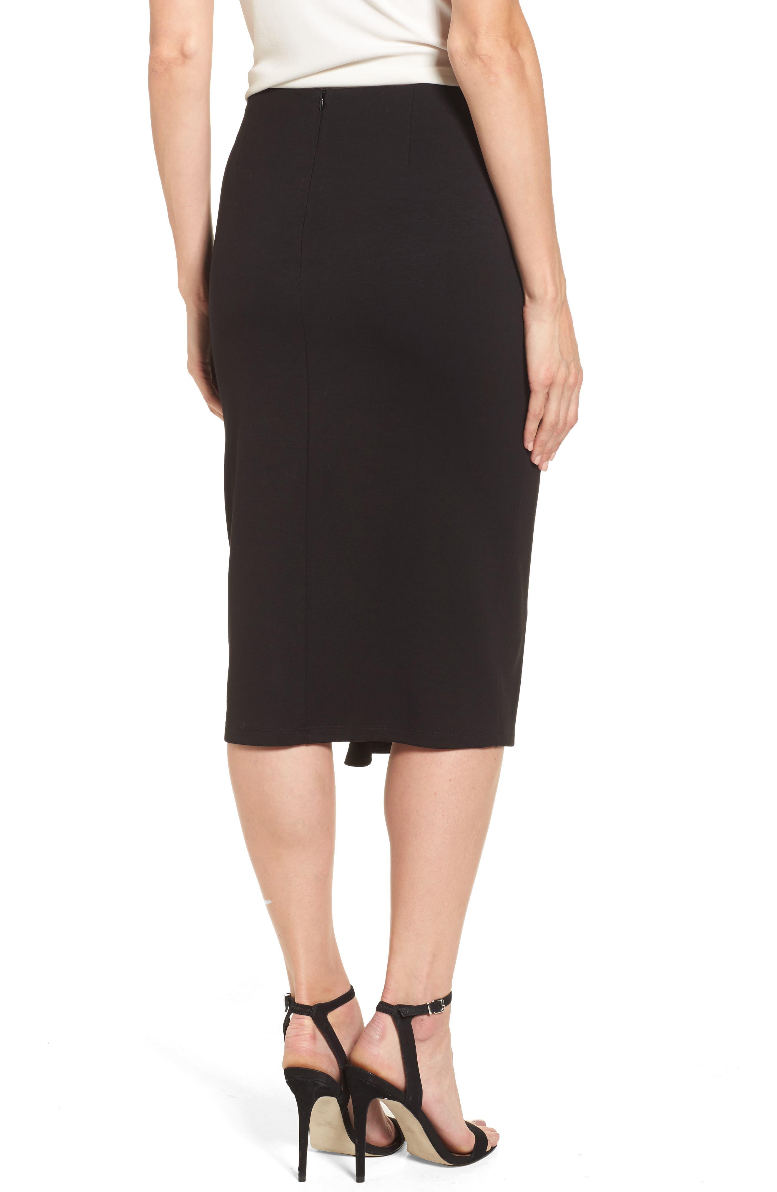 Side Ruffle Pencil Skirt,                             Alternate thumbnail 2, color,                             001