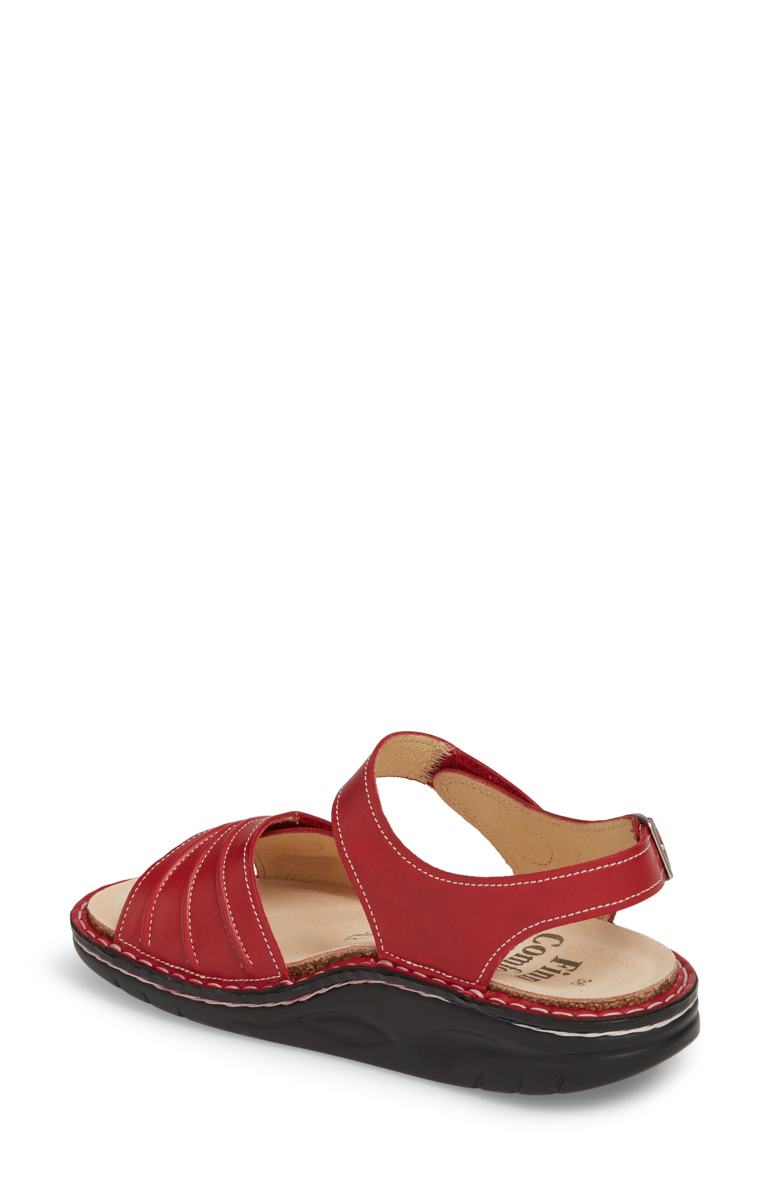 FINNAMIC by Finn Comfort 'Sausalito' Sandal,                             Alternate thumbnail 2, color,                             RED LEATHER