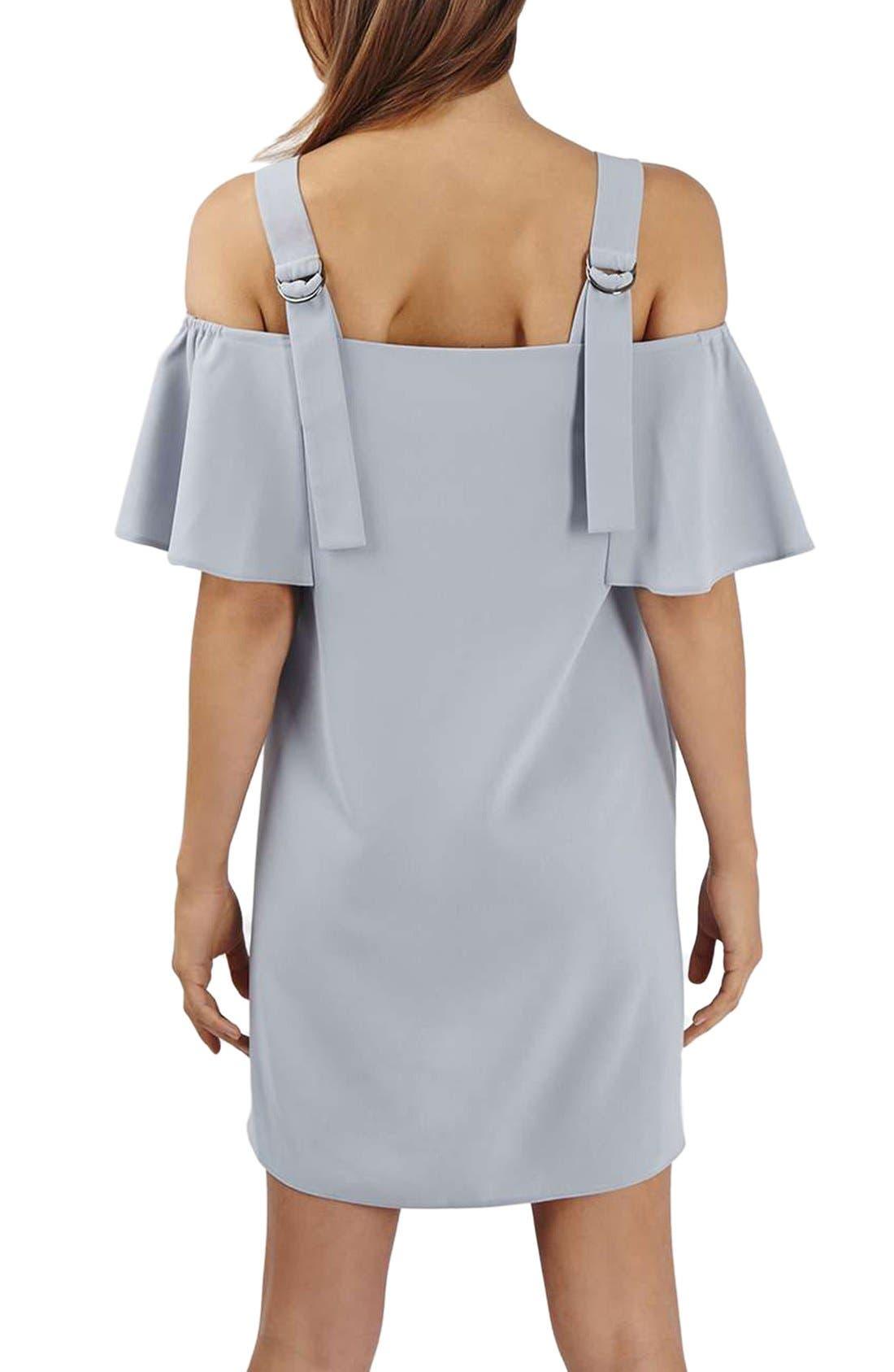 TOPSHOP,                             Cold Shoulder Shift Dress,                             Alternate thumbnail 2, color,                             050