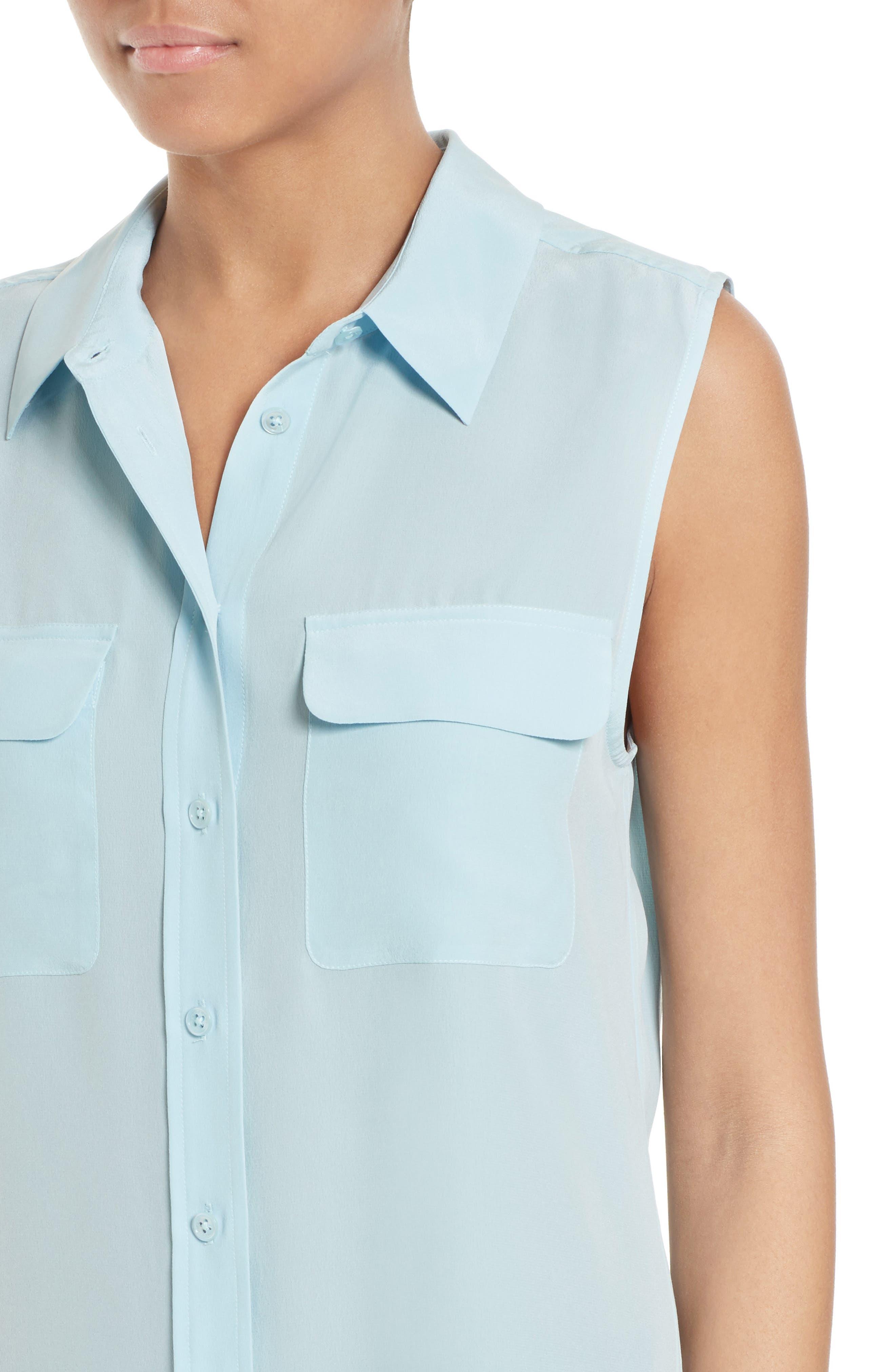 'Slim Signature' Sleeveless Silk Shirt,                             Alternate thumbnail 167, color,