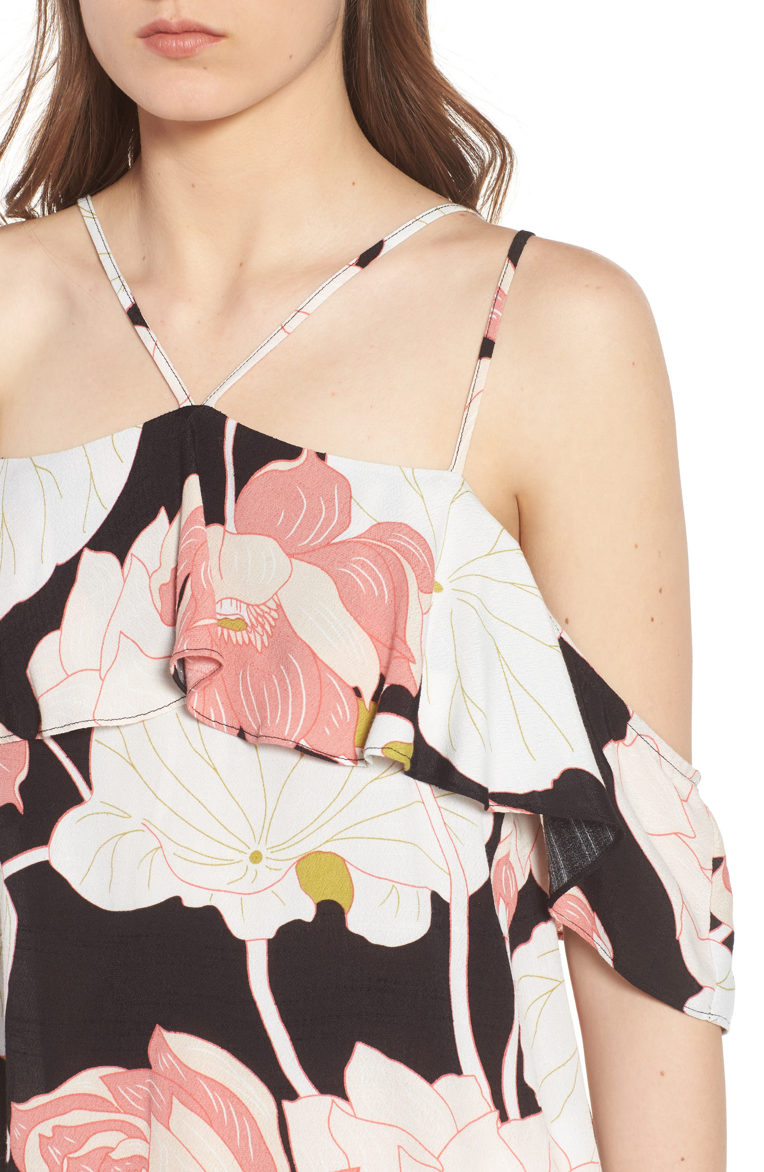 CUPCAKES AND CASHMERE,                             Bixby Water Lilies Cold Shoulder Top,                             Alternate thumbnail 4, color,                             001