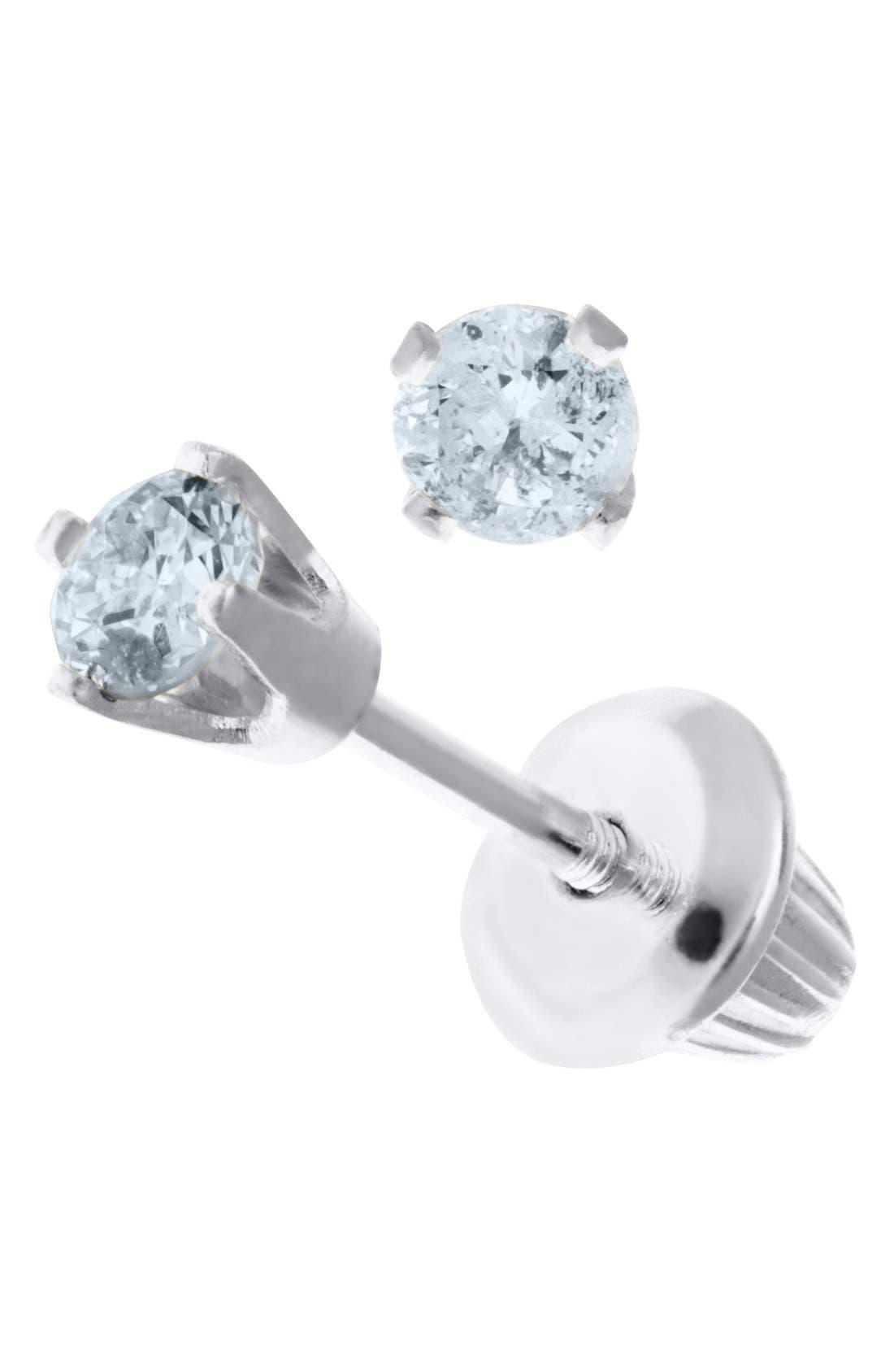 14k White Gold & Diamond Stud Earrings,                             Alternate thumbnail 2, color,                             SILVER