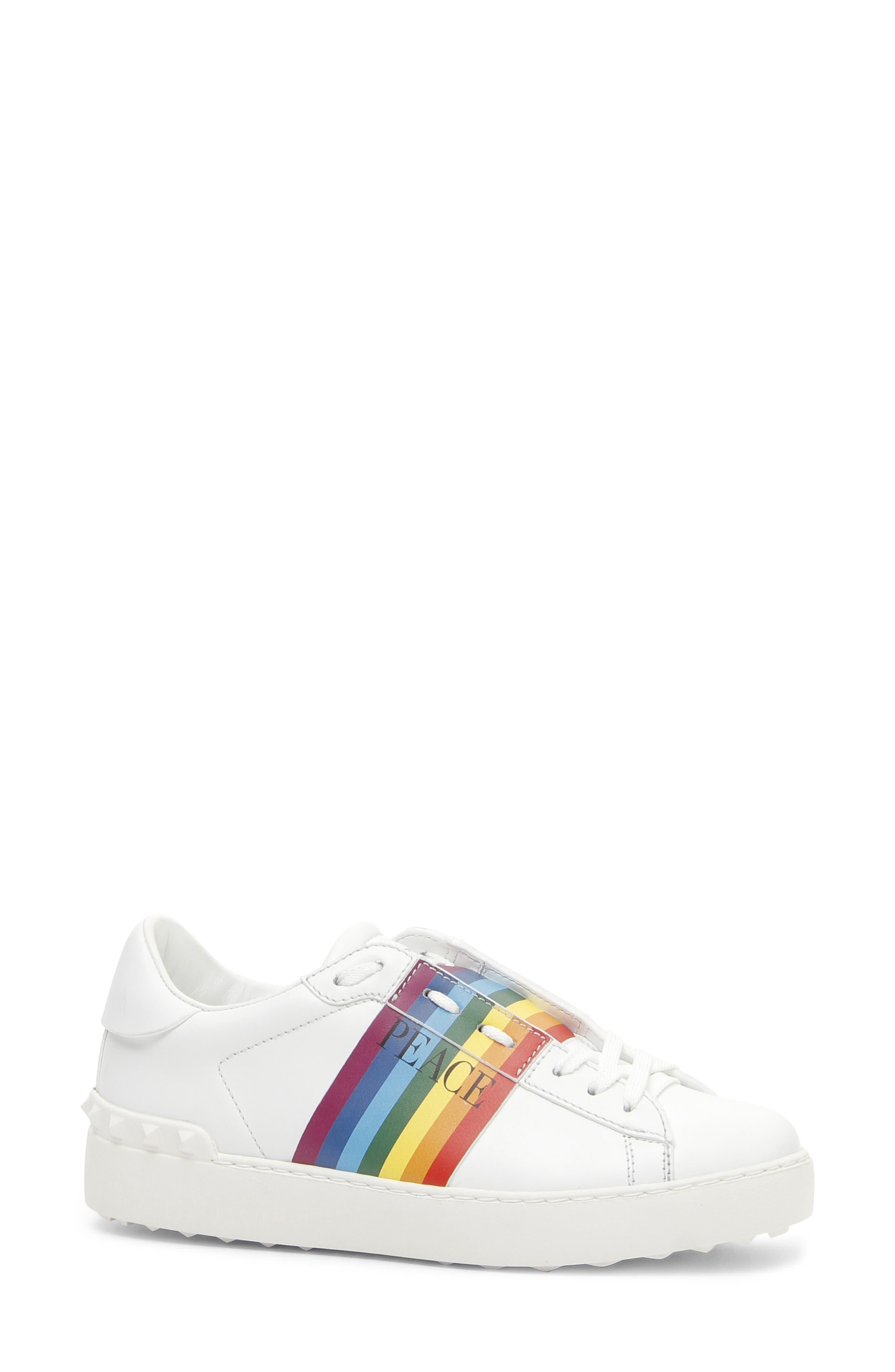 VALENTINO GARAVANI,                             Rainbow Peace Sneaker,                             Main thumbnail 1, color,                             WHITE/ RAINBOW