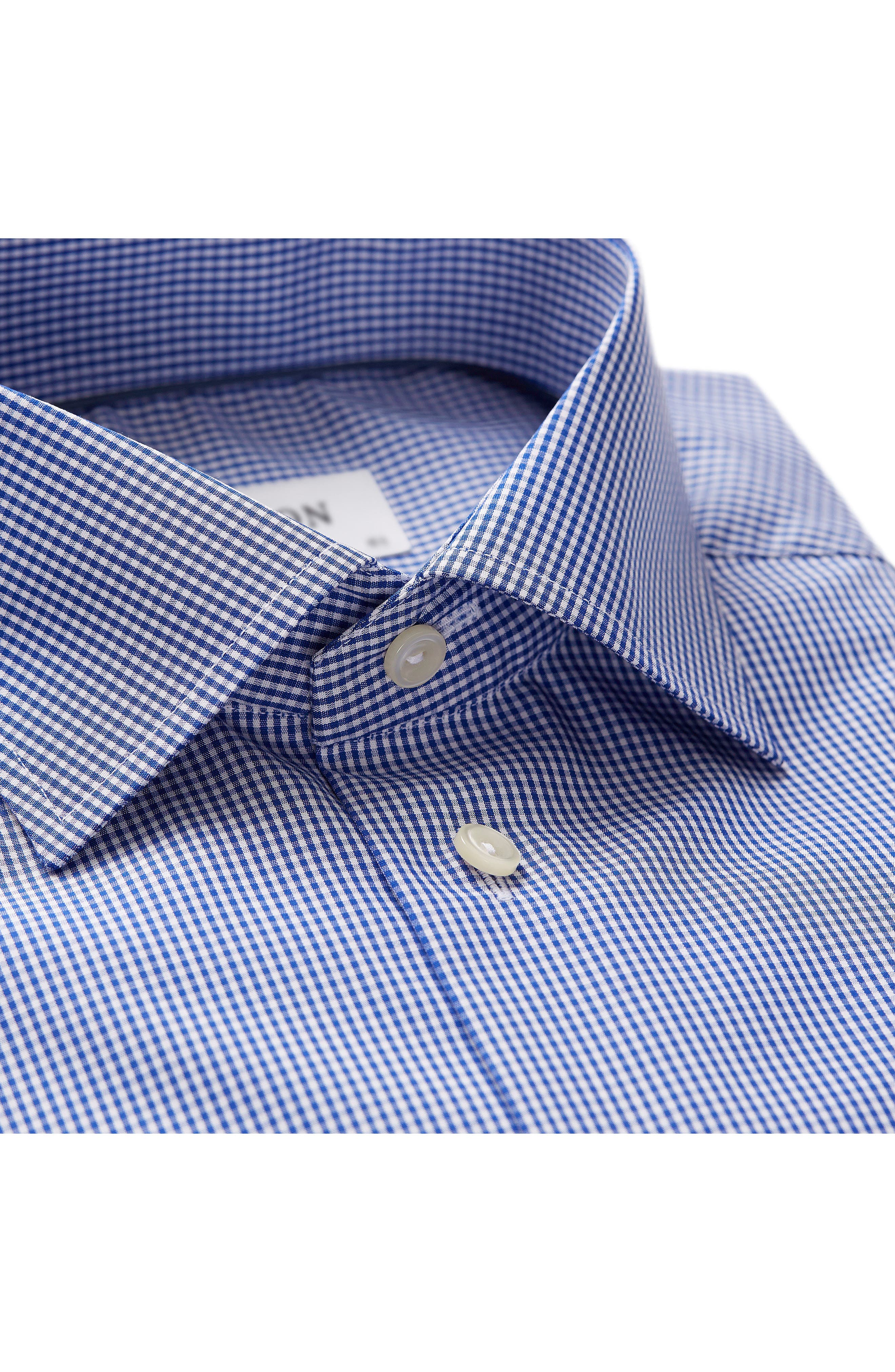 Contemporary Fit Check Dress Shirt,                             Alternate thumbnail 4, color,                             MID BLUE