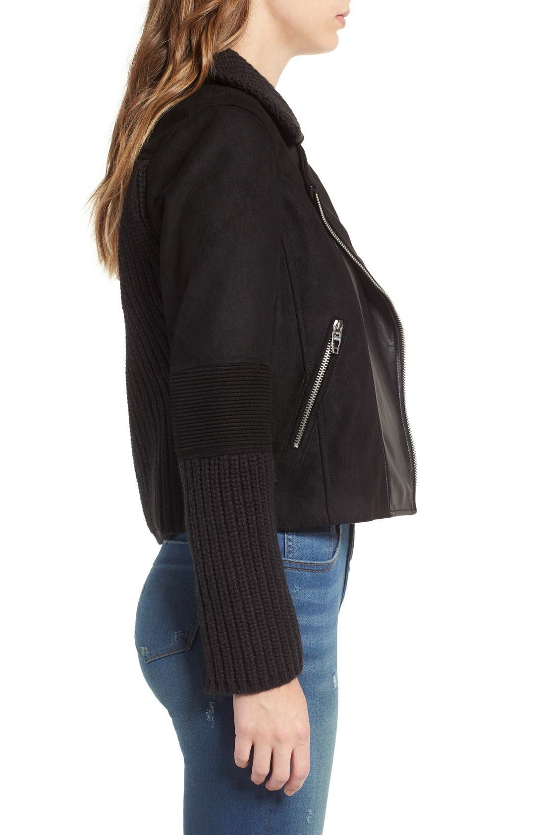 BLANKNYC,                             Faux Suede & Knit Moto Jacket,                             Alternate thumbnail 2, color,                             001