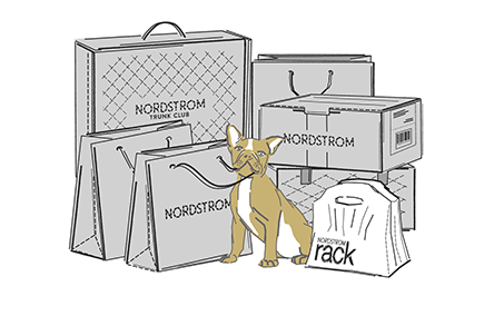 Stack of Nordstrom boxes and bags.