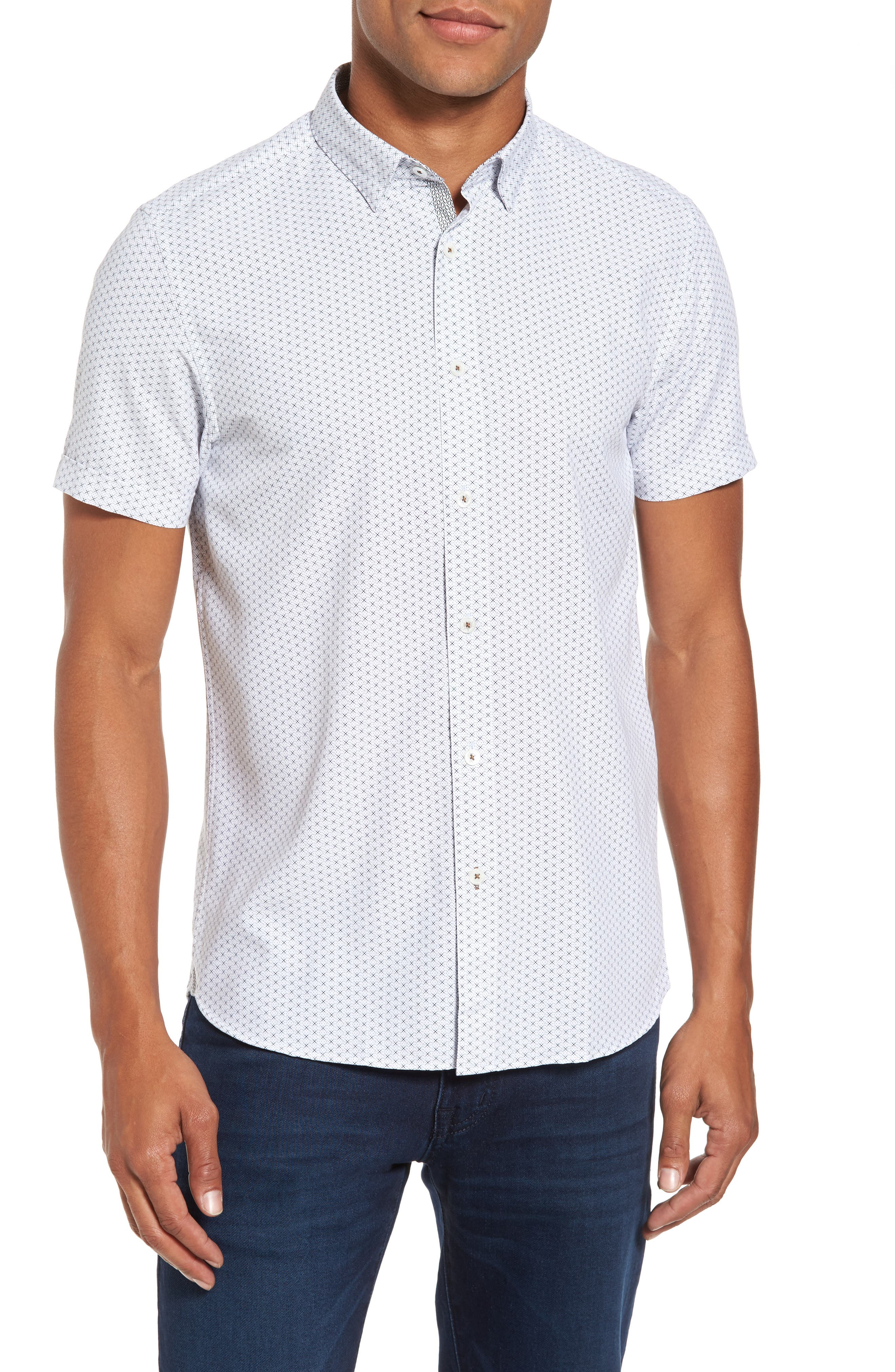 Geo Polynosic Slim Fit Woven Shirt,                             Main thumbnail 1, color,                             110