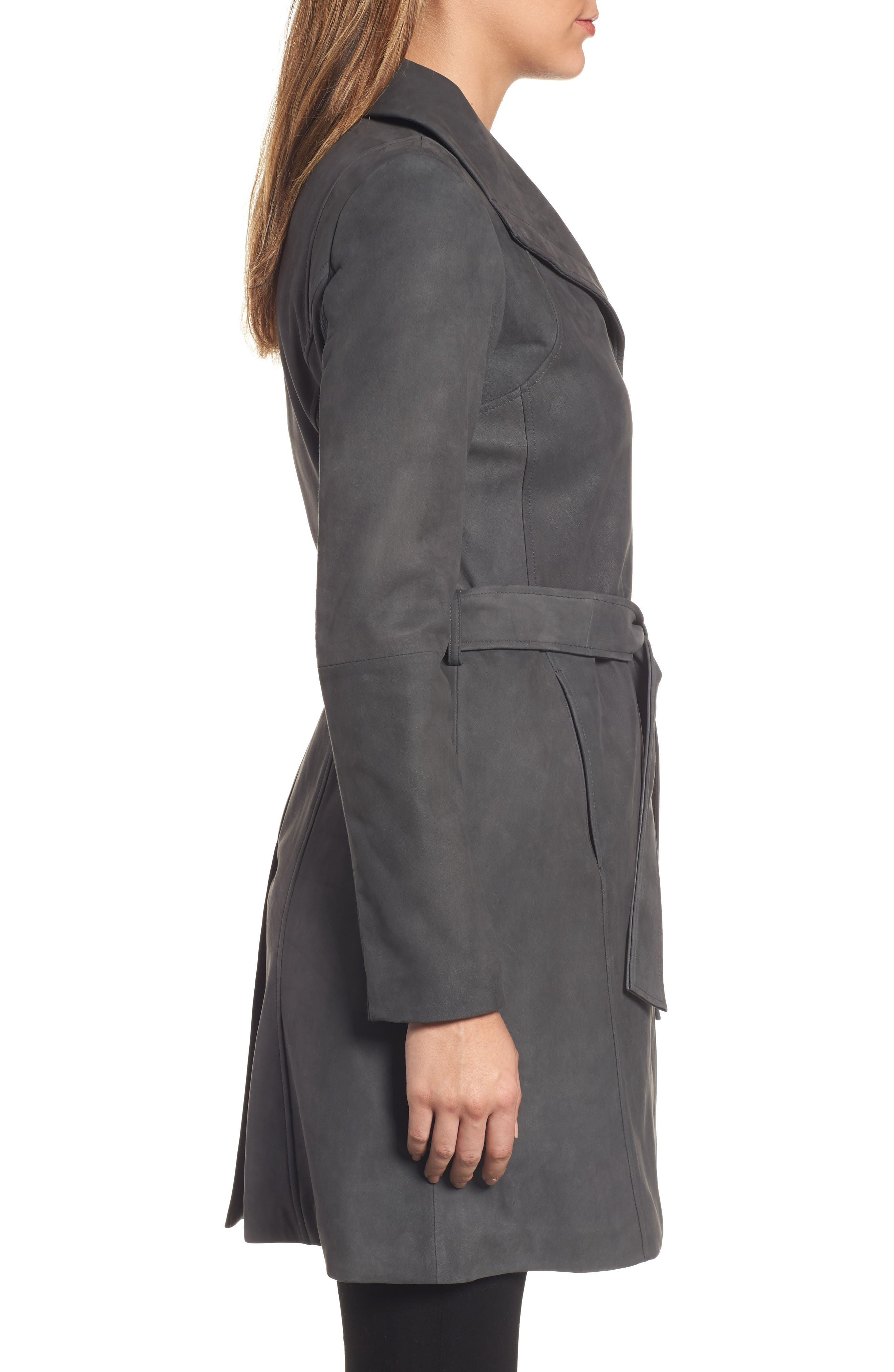 Jacqueline Belted Leather Trench Coat,                             Alternate thumbnail 3, color,                             065