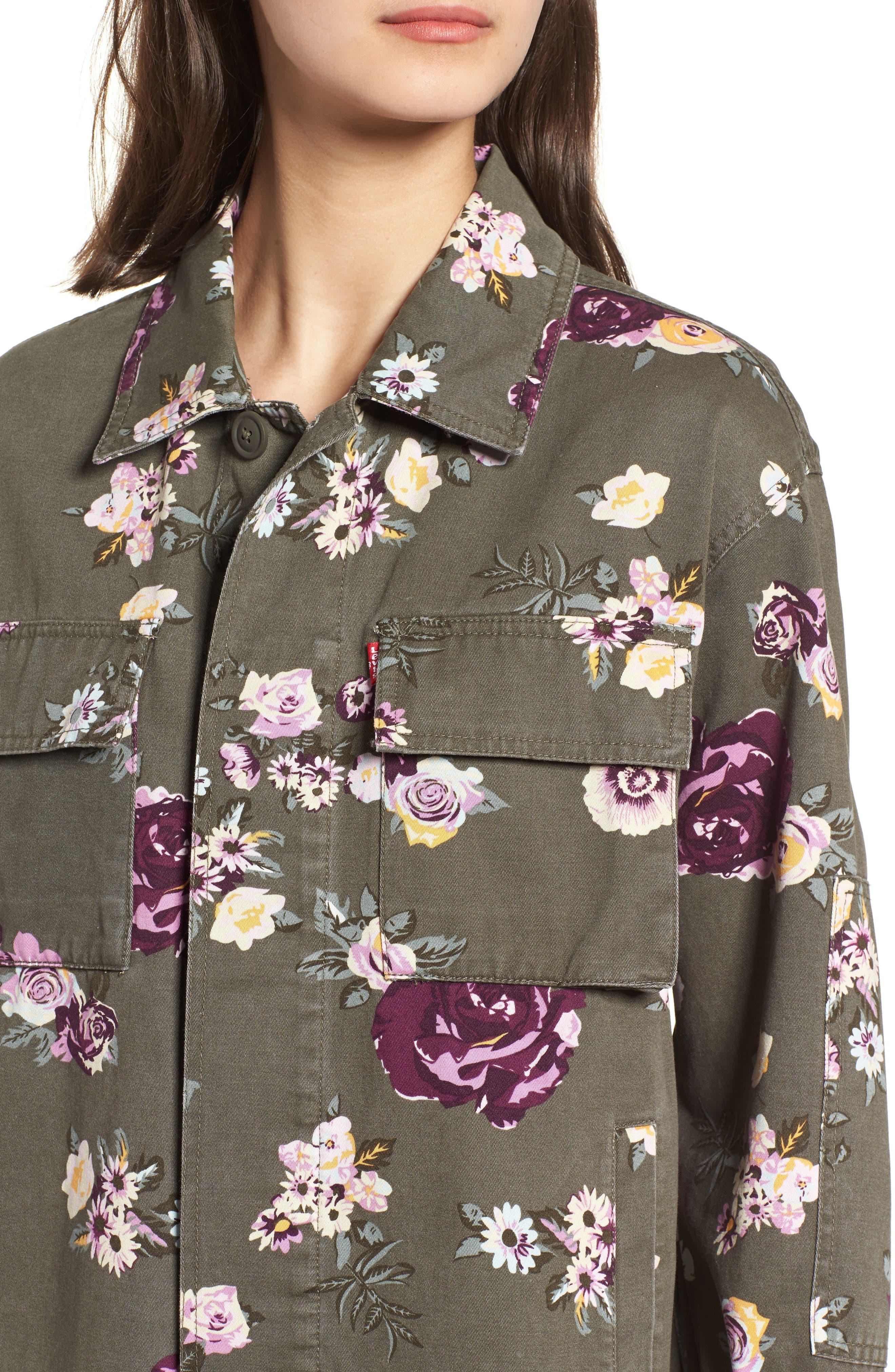 Oversize Cotton Canvas Camo Shirt Jacket,                             Alternate thumbnail 4, color,                             303