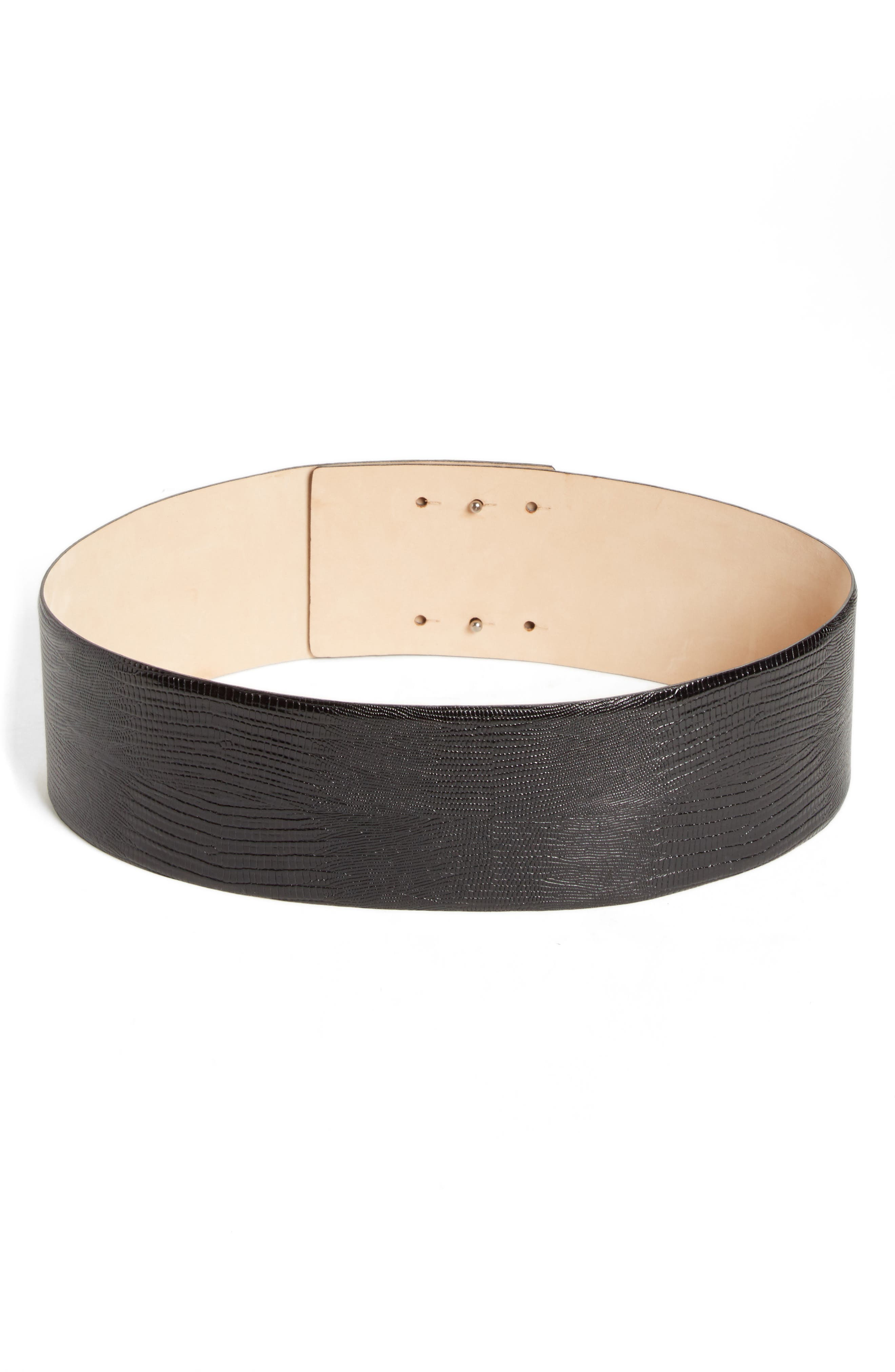 Reptile Embossed Leather Belt,                             Main thumbnail 1, color,                             001