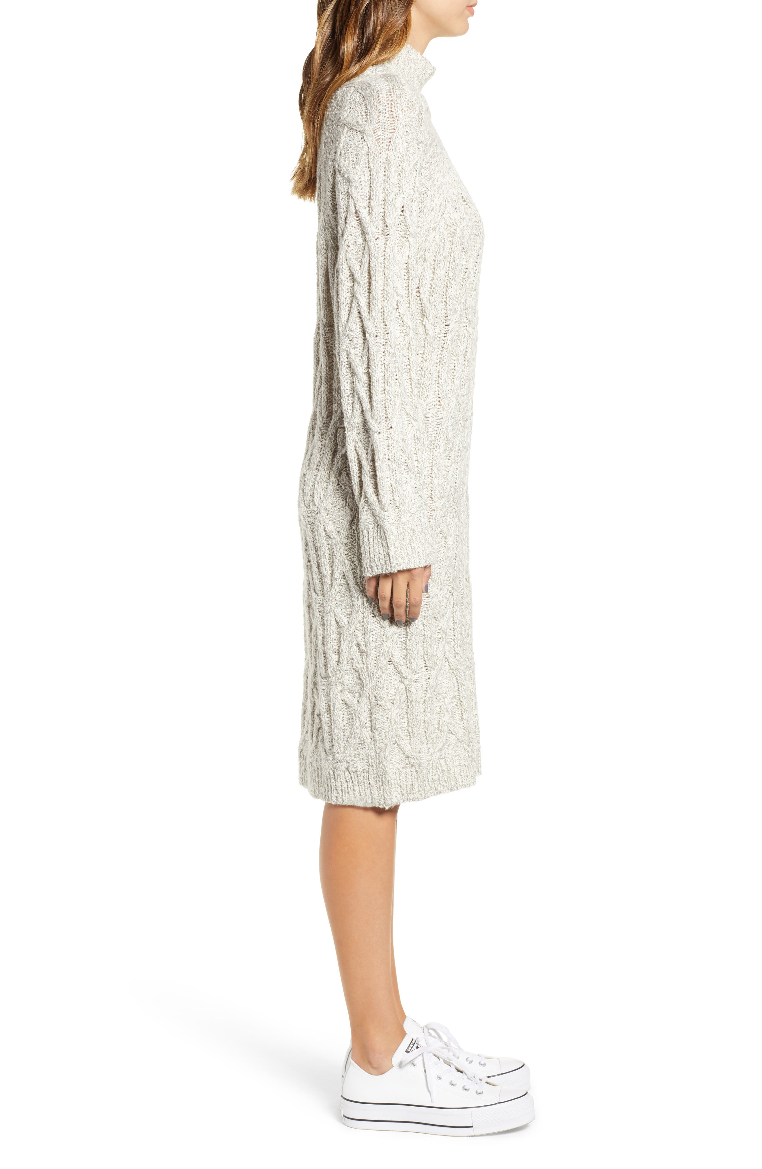 Cable Knit Sweater Dress,                             Alternate thumbnail 3, color,                             GREY PEARL MARL