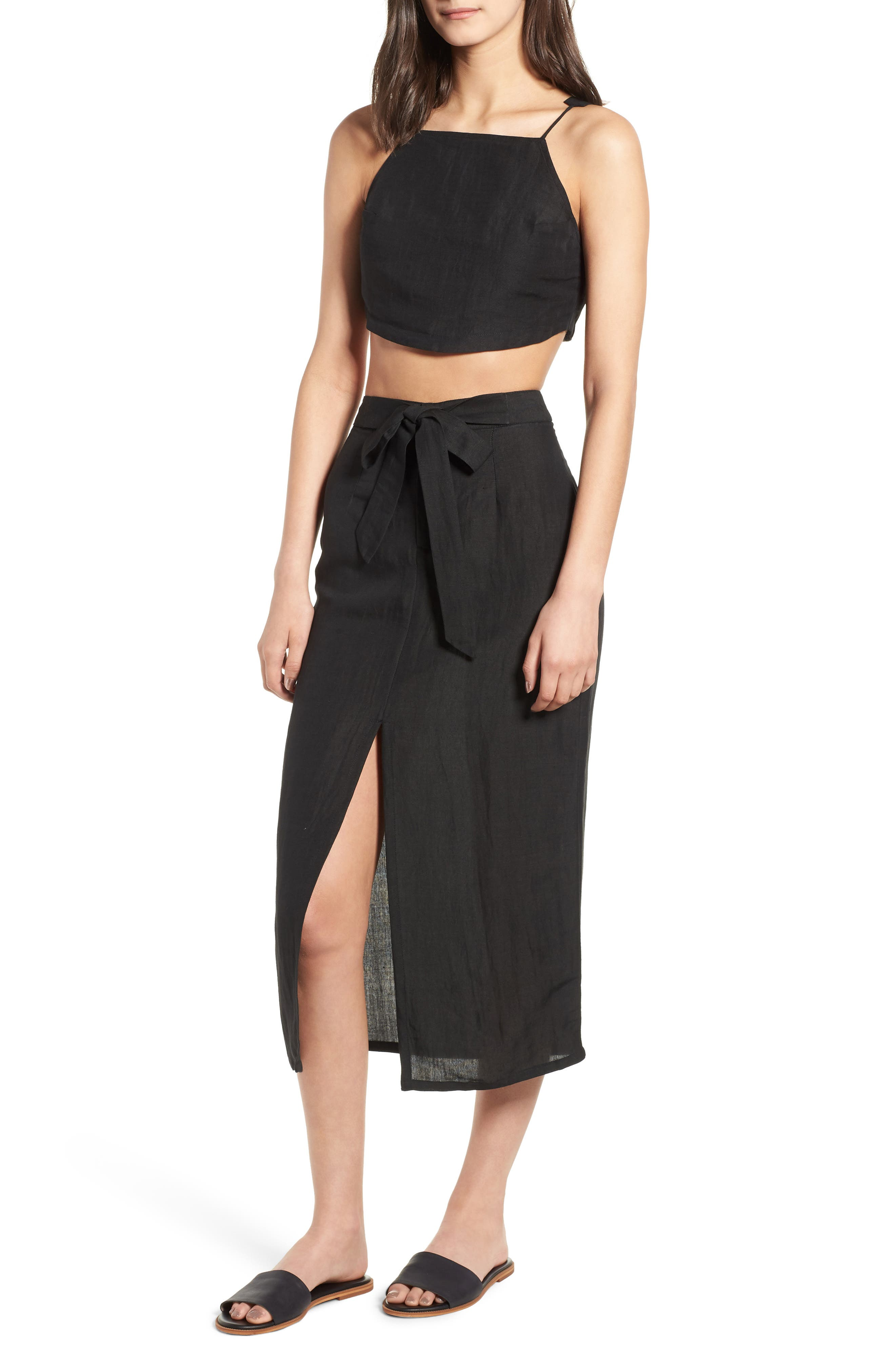 Linen Blend Crop Top,                             Alternate thumbnail 7, color,                             001