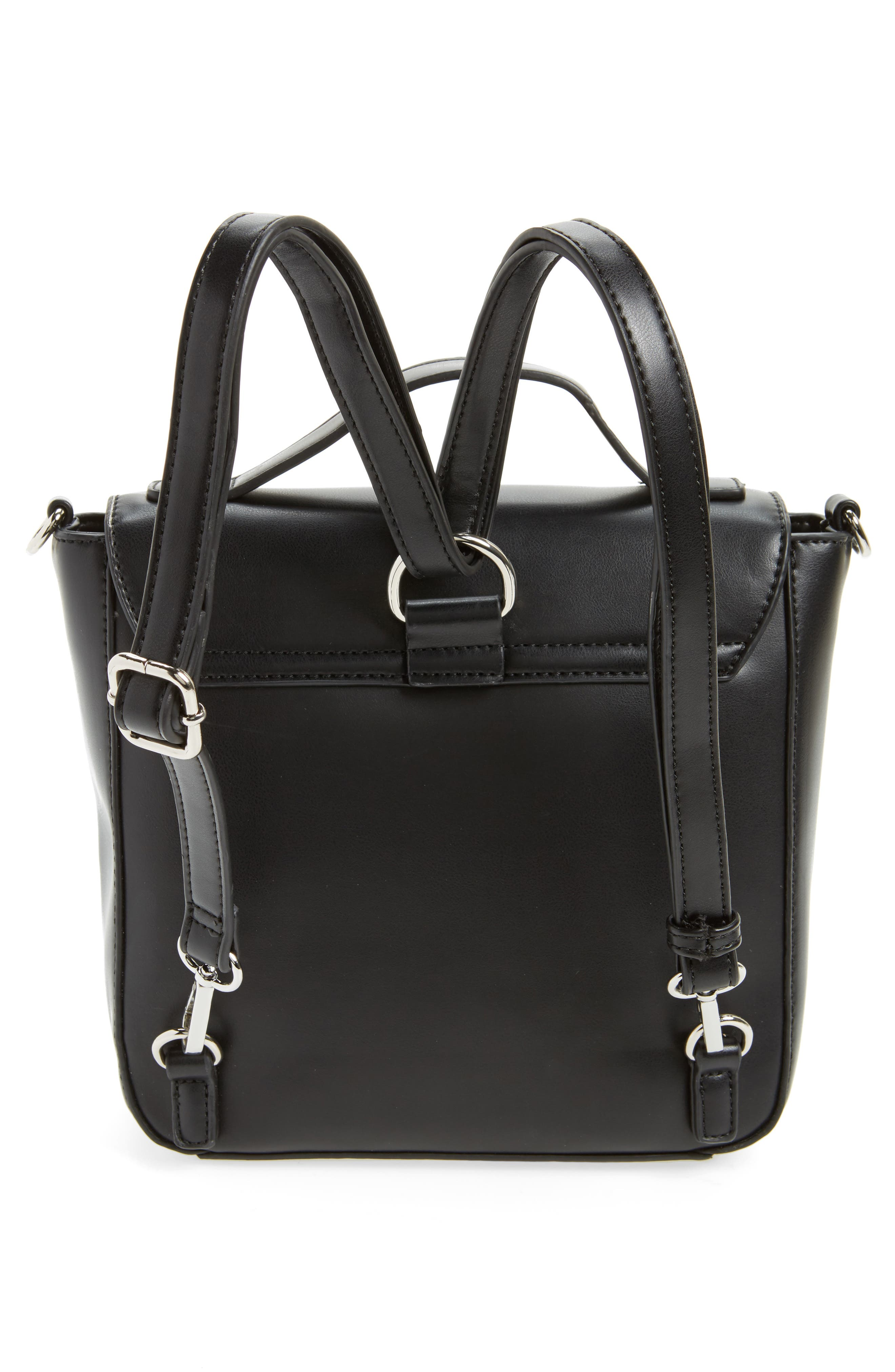 Convertible Faux Leather Backpack,                             Alternate thumbnail 3, color,                             001