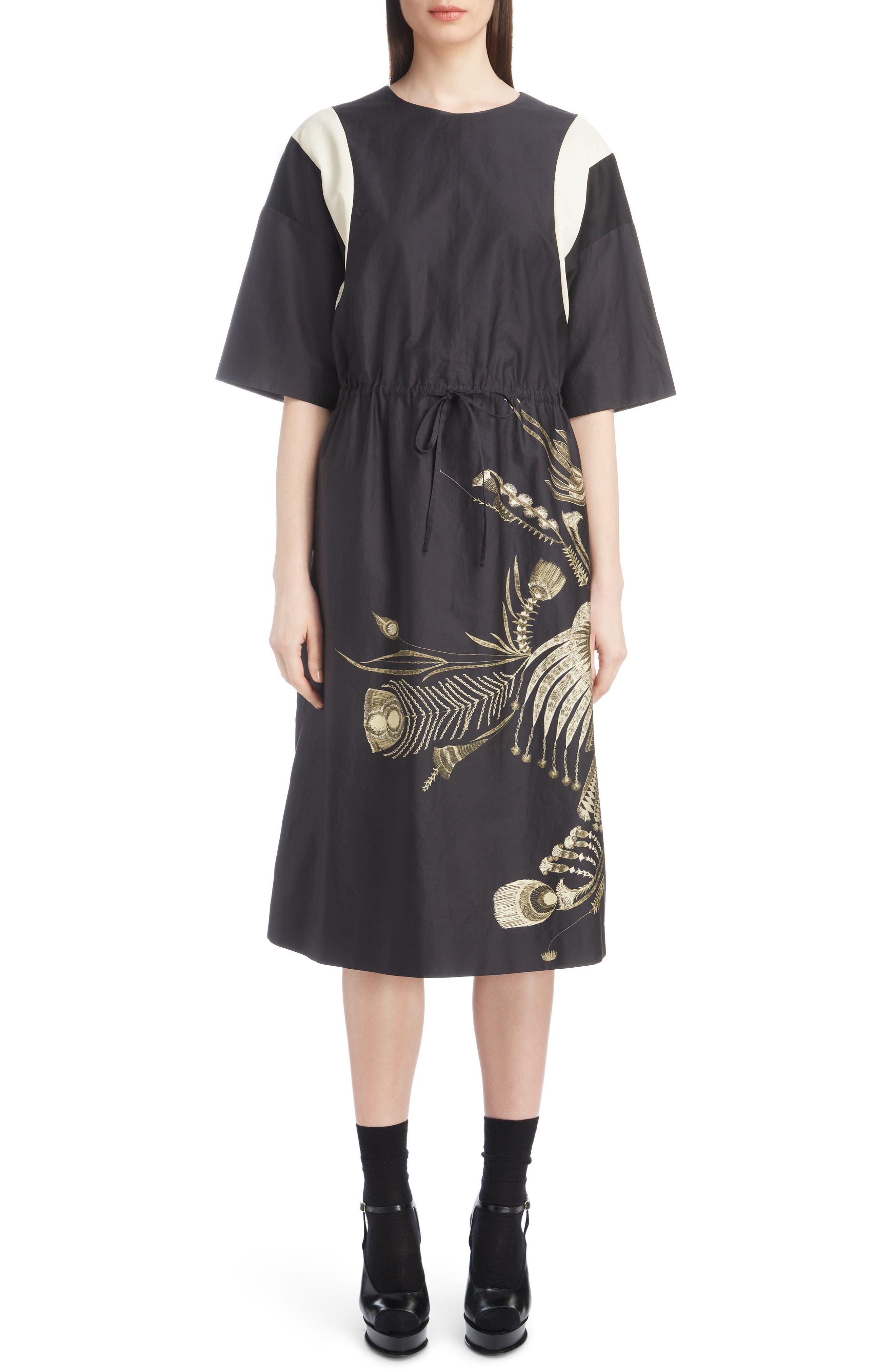 Placed Print Poplin Dress,                         Main,                         color, BLACK