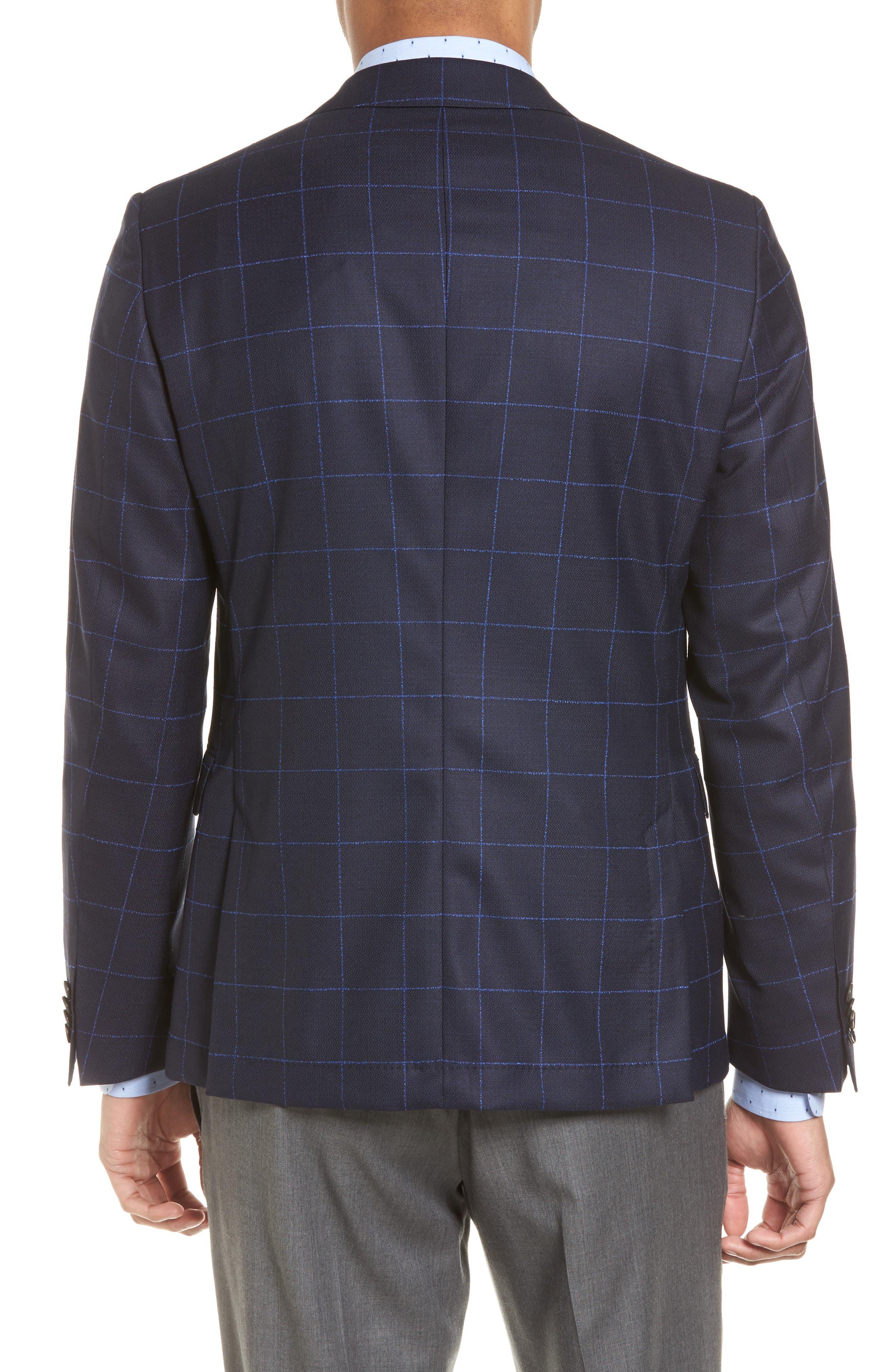 Nordstrom x BOSS Nobis Trim Fit Check Wool Sport Coat,                             Alternate thumbnail 2, color,