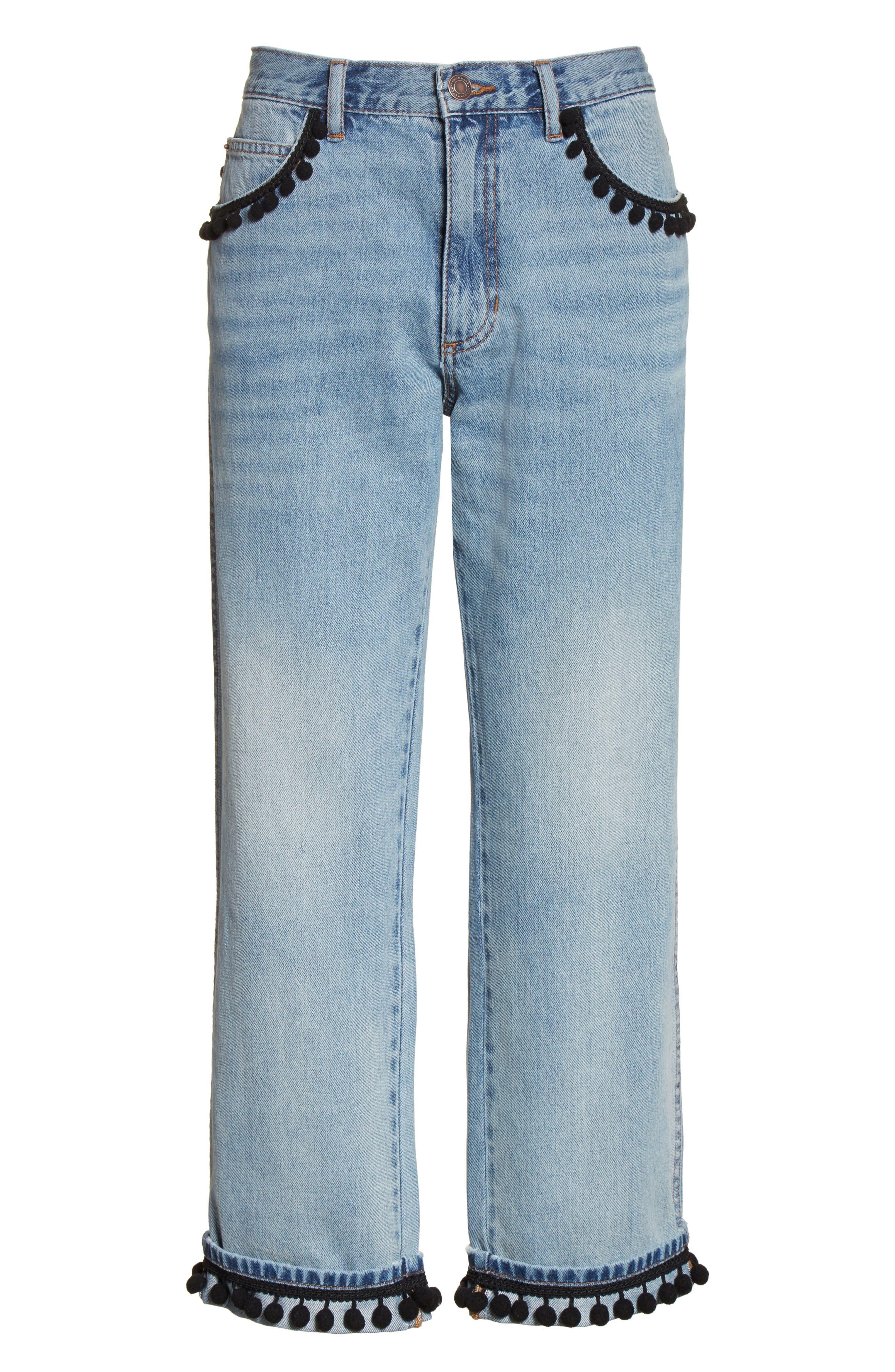 Pom Trim Crop Jeans,                             Alternate thumbnail 6, color,                             489