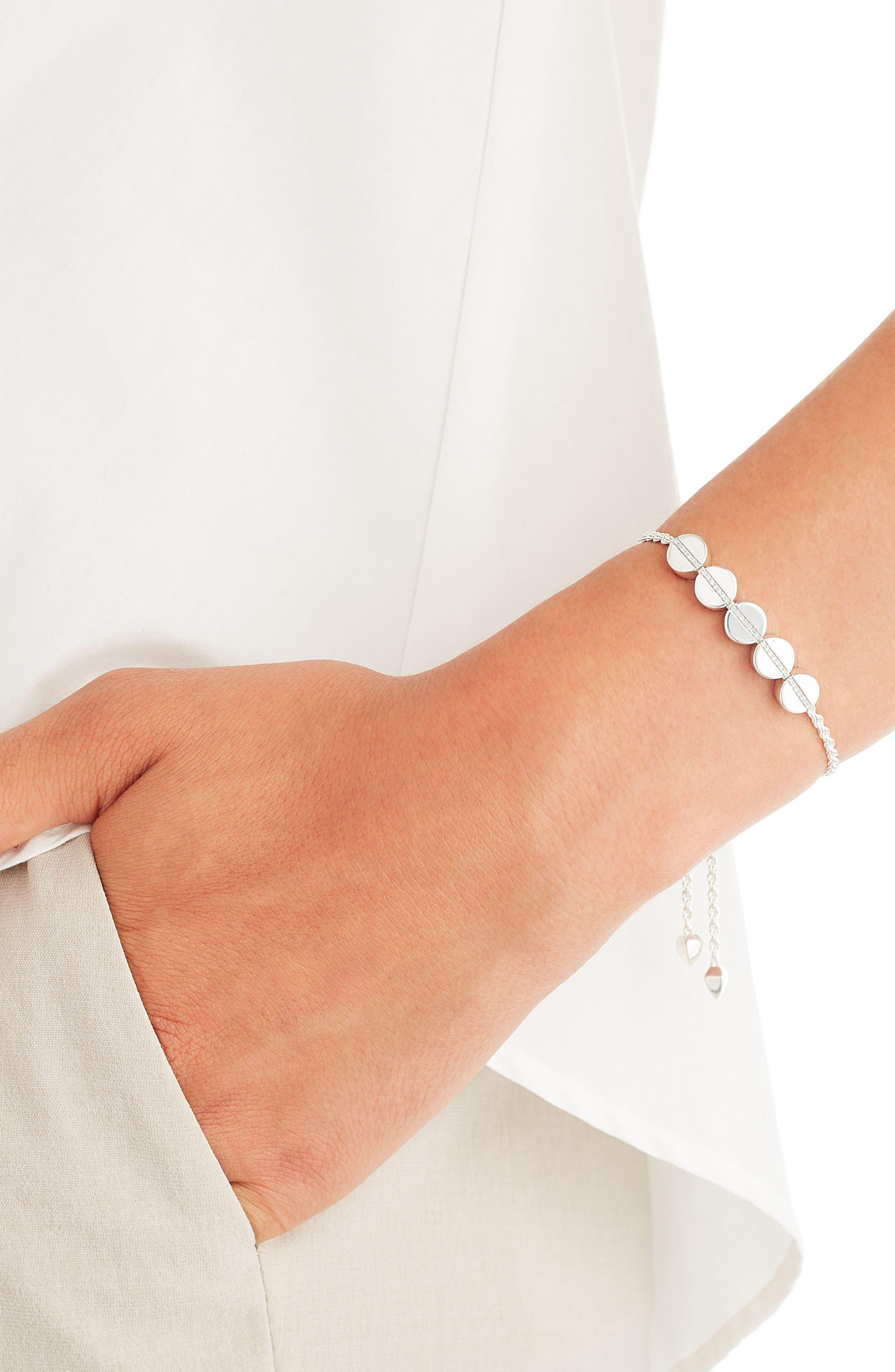 Engravable Diamond Beaded Friendship Bracelet,                             Alternate thumbnail 2, color,                             SILVER/ DIAMOND