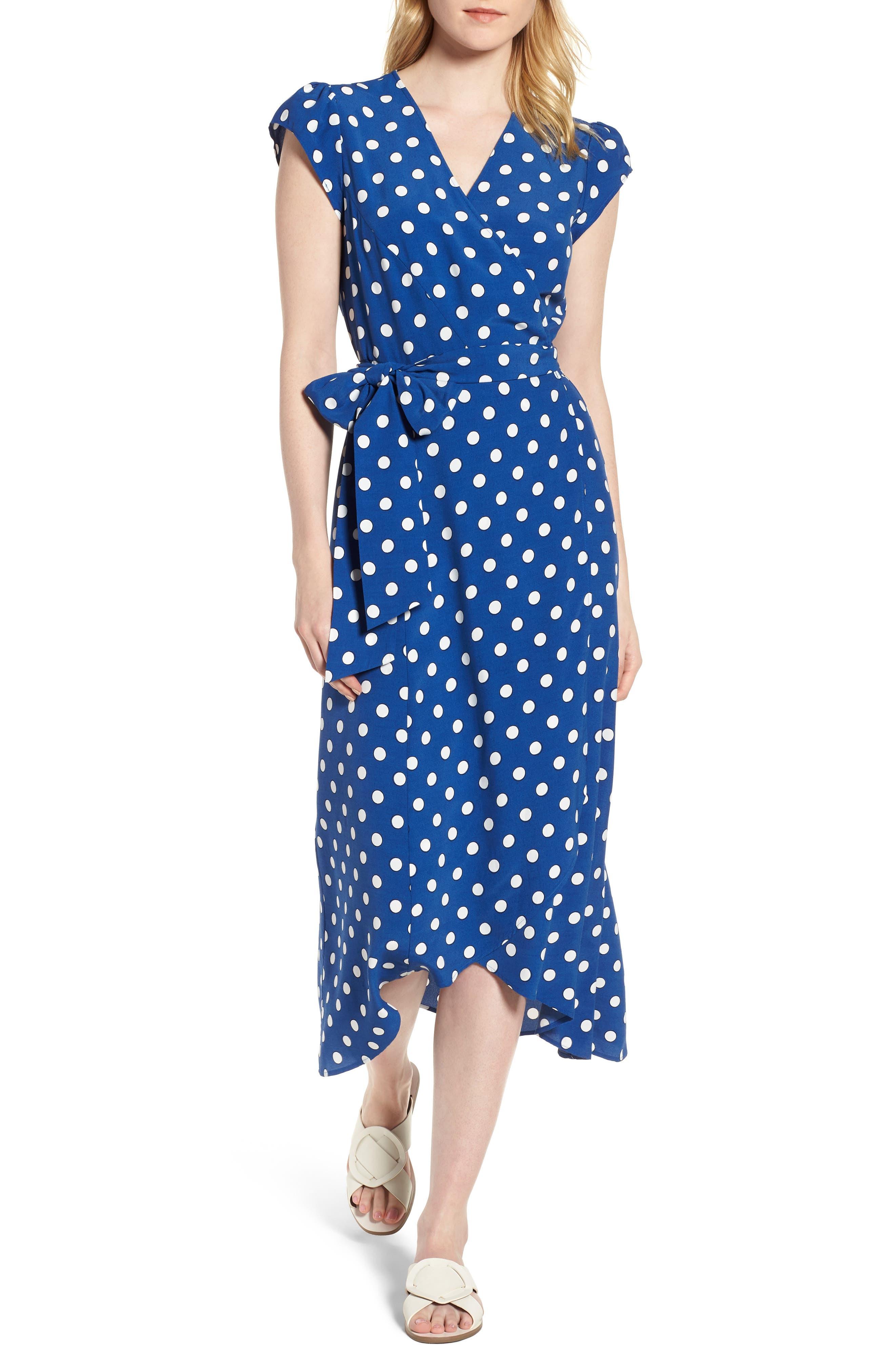 Polka Dot Wrap Dress,                             Main thumbnail 1, color,