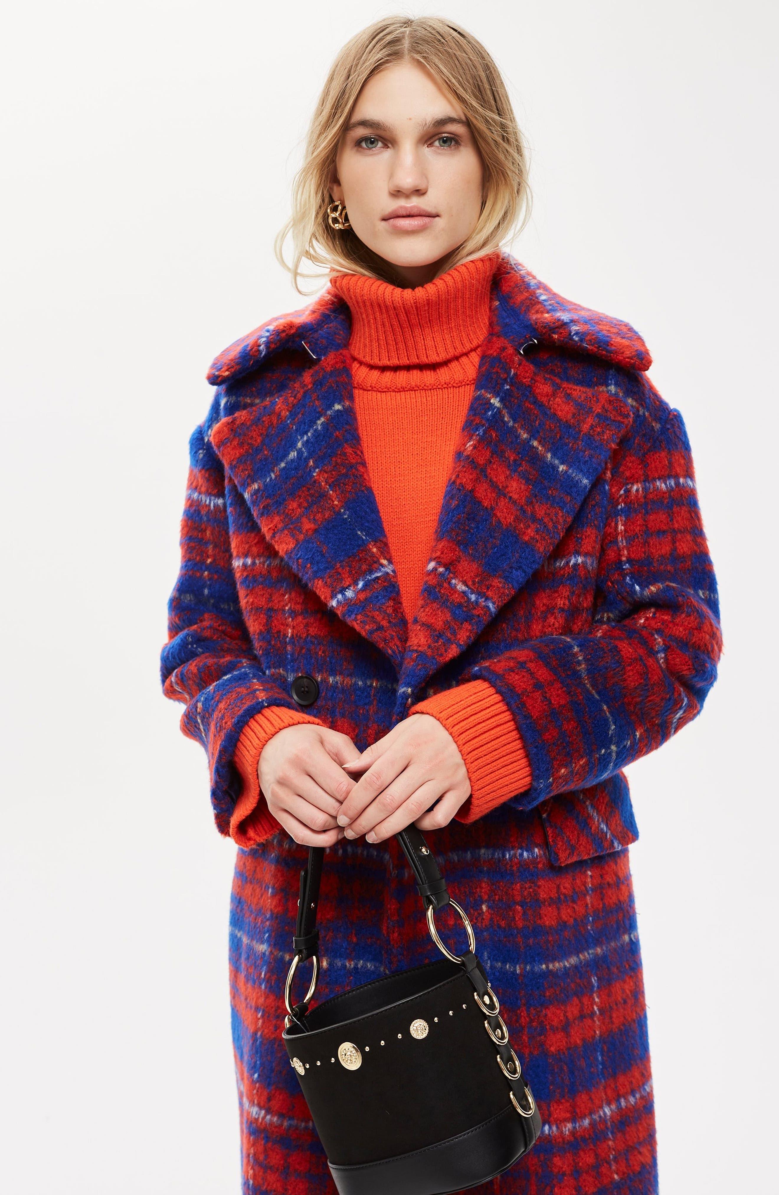 Bodika Check Coat,                             Alternate thumbnail 8, color,                             RED MULTI