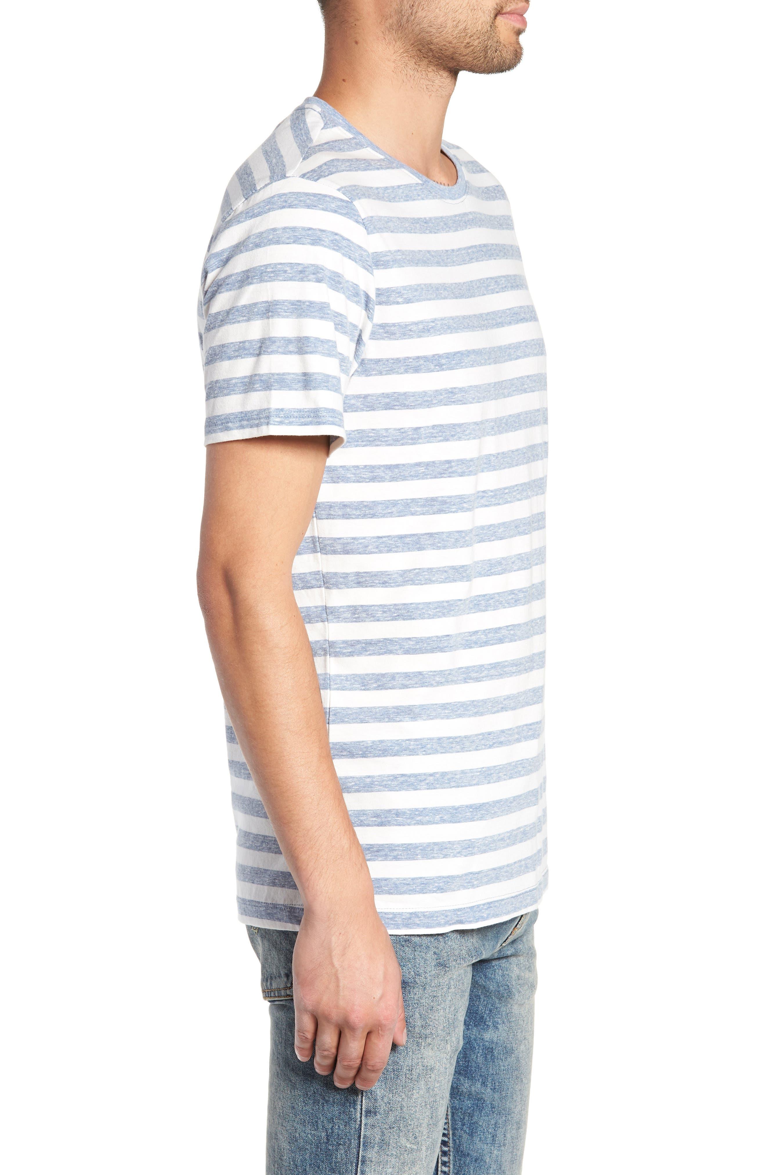 Stripe Crewneck T-Shirt,                             Alternate thumbnail 3, color,                             BLUE CHAMBRAY- WHITE STRIPE