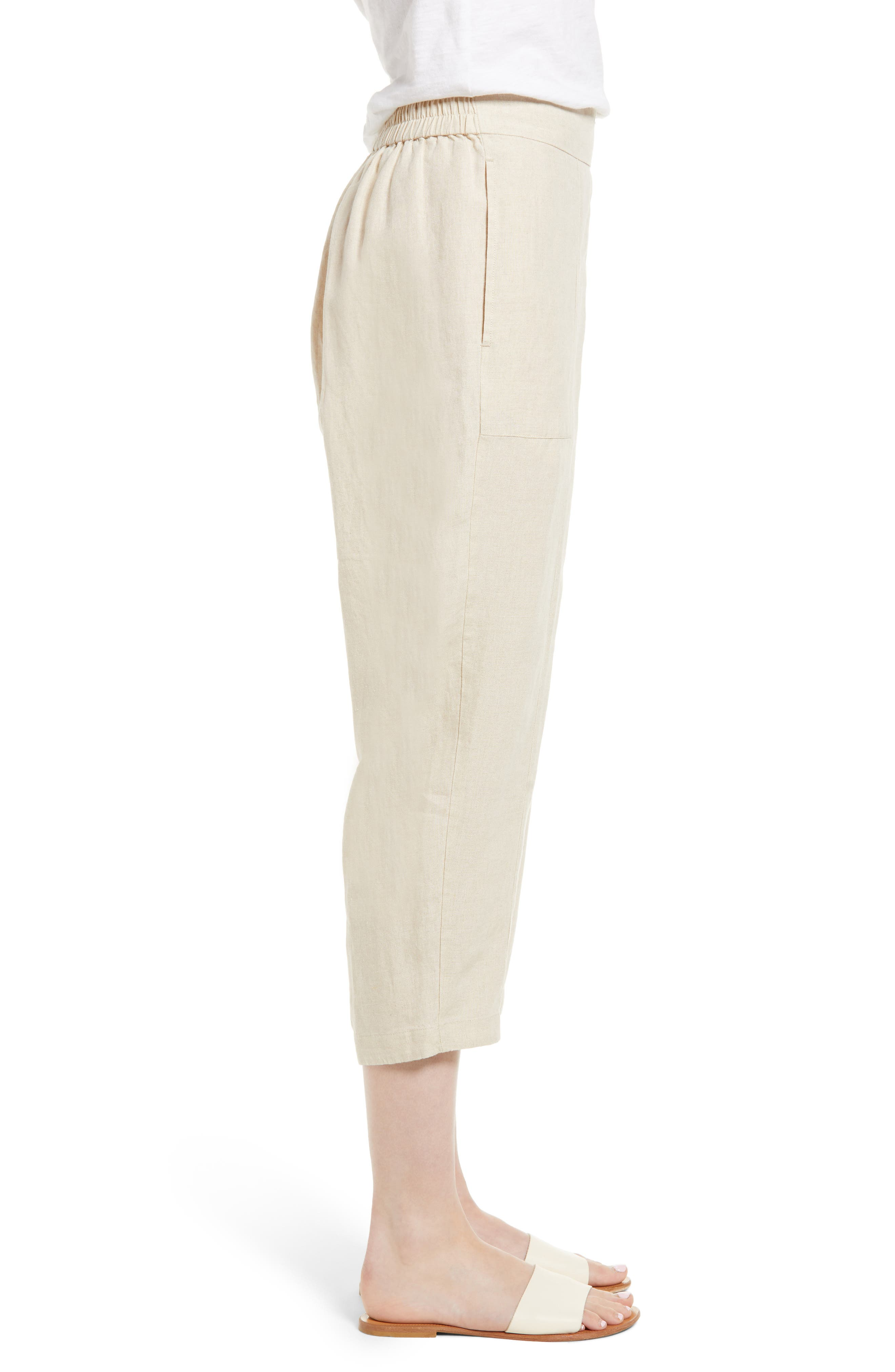 Organic Linen Crop Pants,                             Alternate thumbnail 13, color,