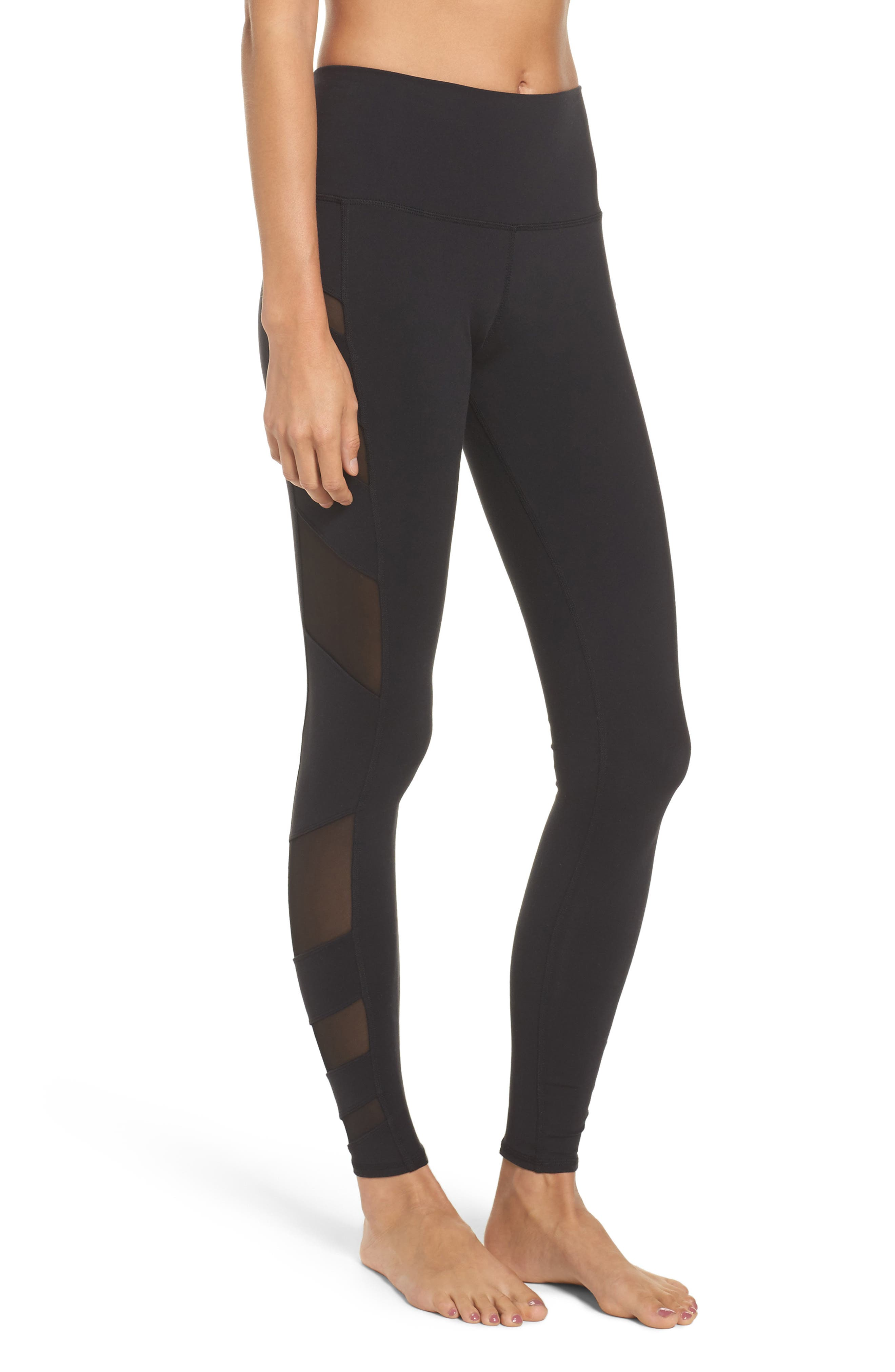 Block High Waist Mesh Inset Leggings,                             Alternate thumbnail 3, color,                             001