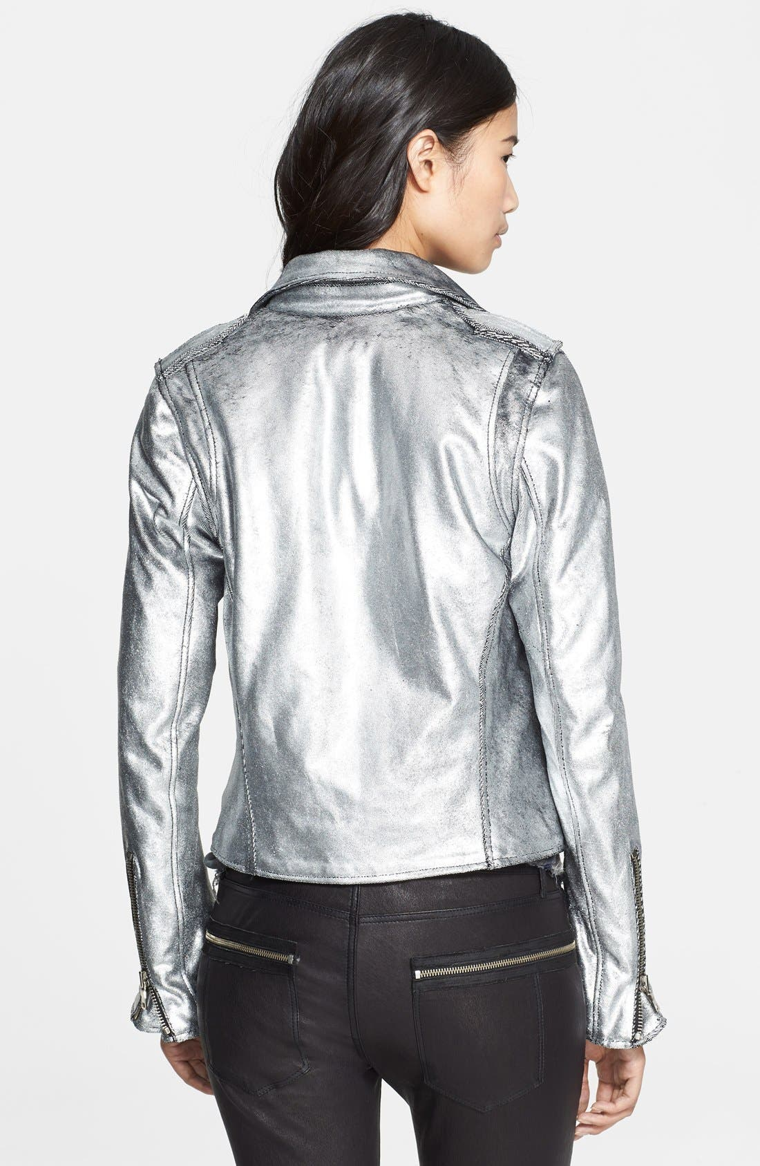 Metallic Leather Biker Jacket,                             Alternate thumbnail 2, color,                             099