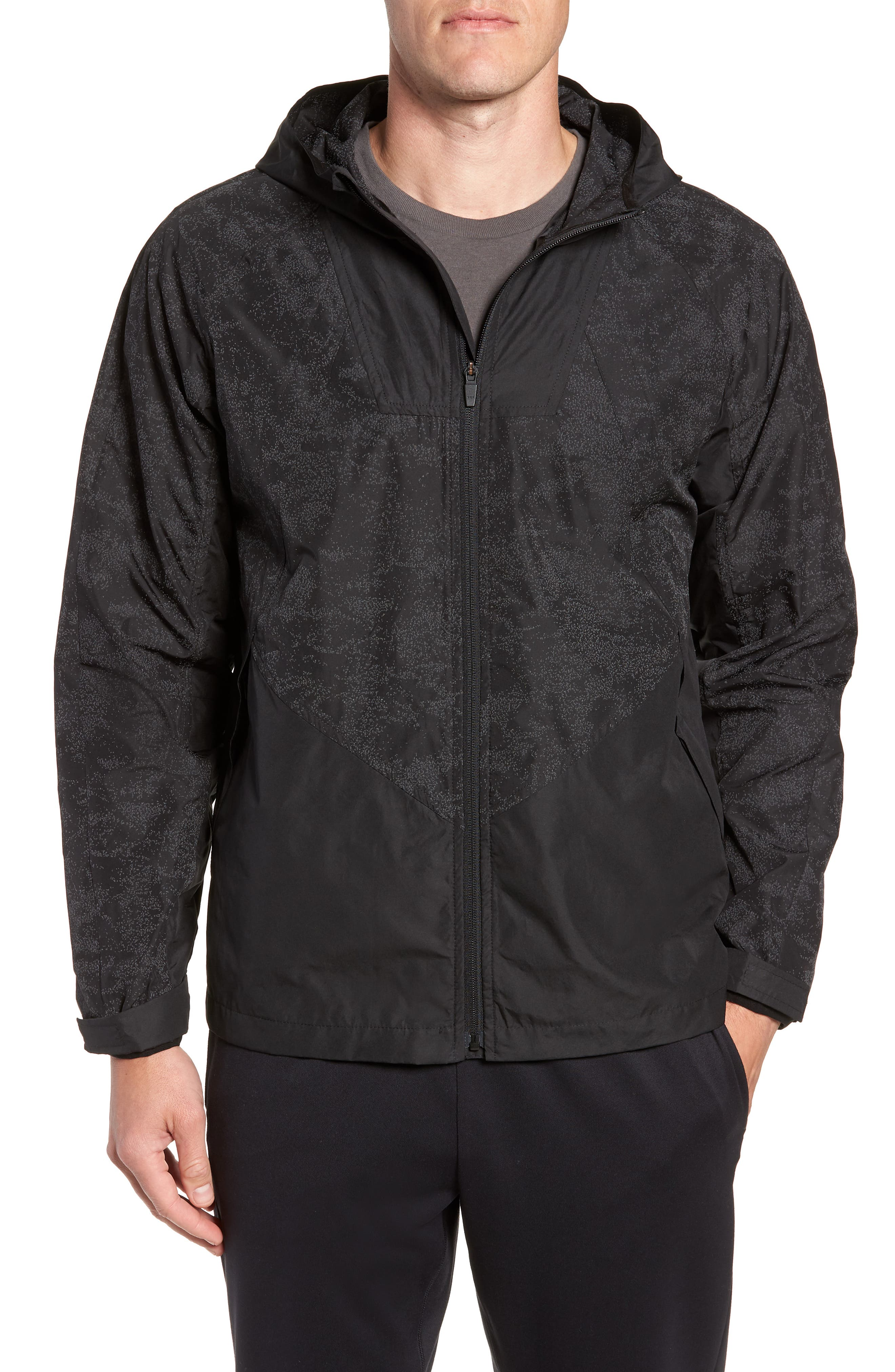 Hooded Reflective Jacket,                         Main,                         color, BLACK REFLECTIVE