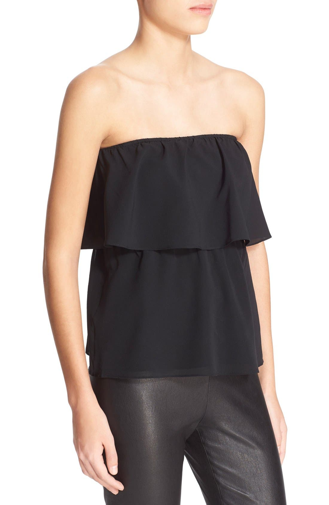 ALICE + OLIVIA,                             'Nadine' Strapless Ruffle Top,                             Alternate thumbnail 3, color,                             001