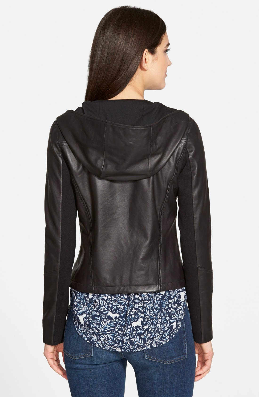 Hooded Leather Jacket,                             Alternate thumbnail 2, color,                             001