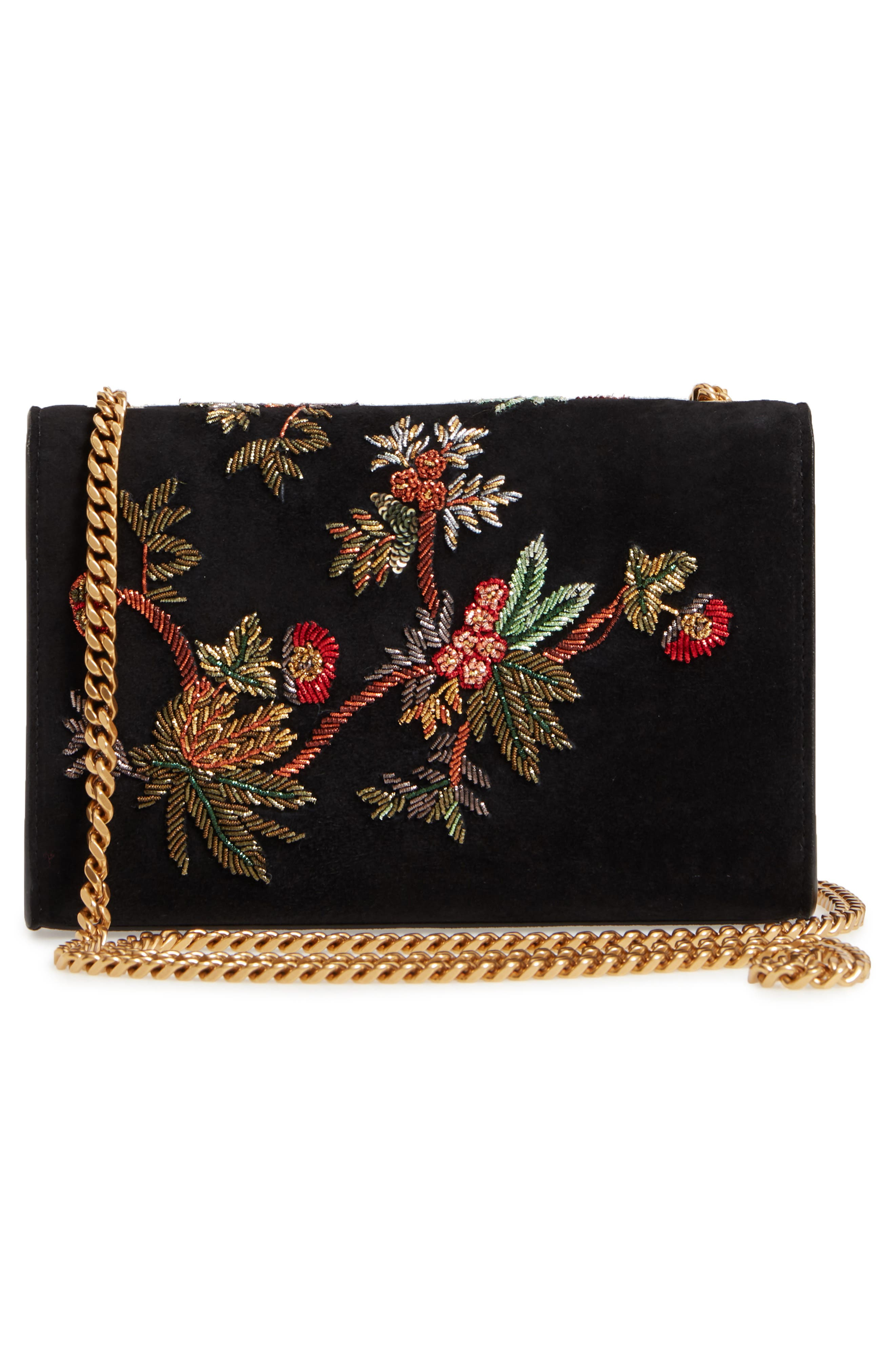 SAINT LAURENT,                             Small Kate Embroidered Suede Crossbody Bag,                             Alternate thumbnail 3, color,                             001
