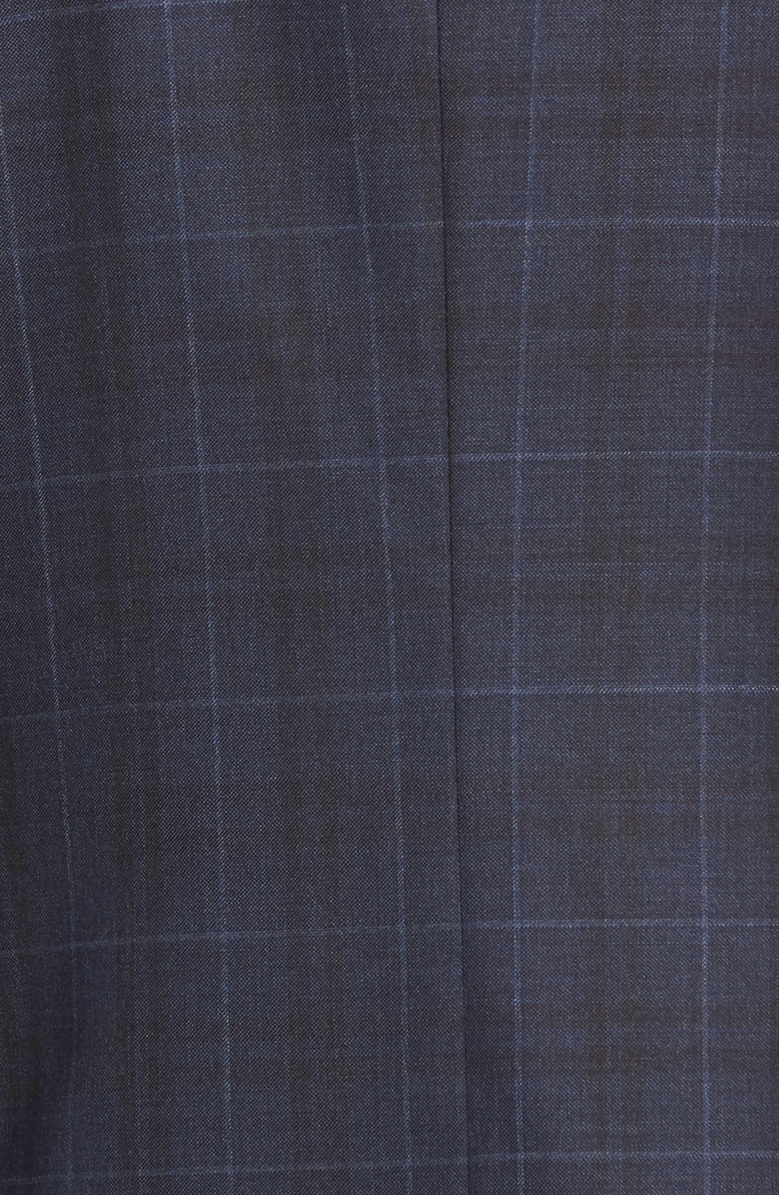 Classic Fit Plaid Wool Suit,                             Alternate thumbnail 7, color,                             DARK BLUE